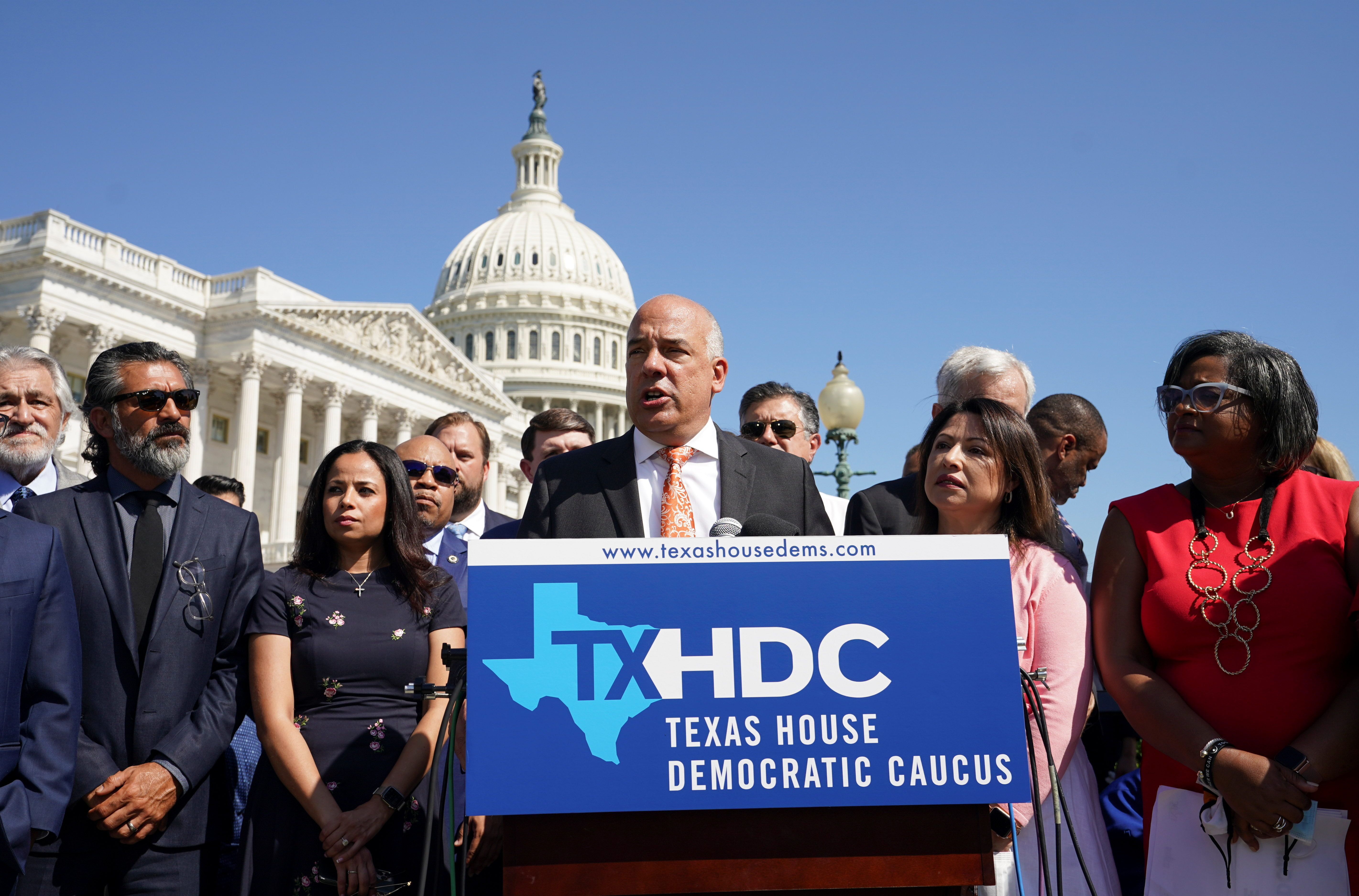 Representative Chris Turner, chair of the Texas House Democratic Caucus, joins with other Democratic members of the Texas House of Representatives, who are boycotting a special session of the legislature in an effort to block Republican-backed voting restrictions, as they speak in front of the U.S. Capitol in Washington, U.S., July 13, 2021. REUTERS/Kevin Lamarque