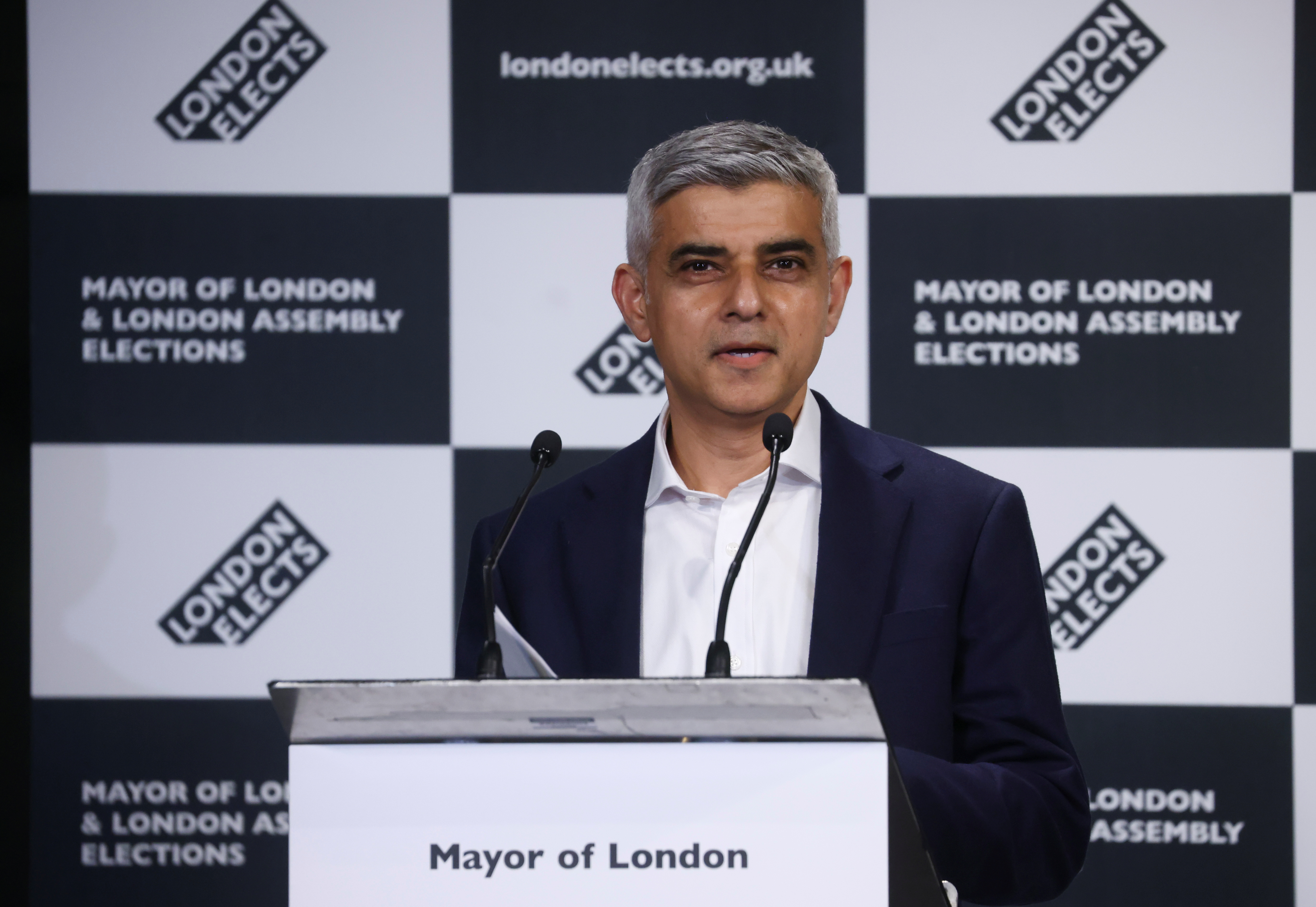 Mayor of London Sadiq Khan speaks after being re-elected in the London mayoral election, at the City Hall in London, Britain, May 8, 2021. REUTERS/Henry Nicholls