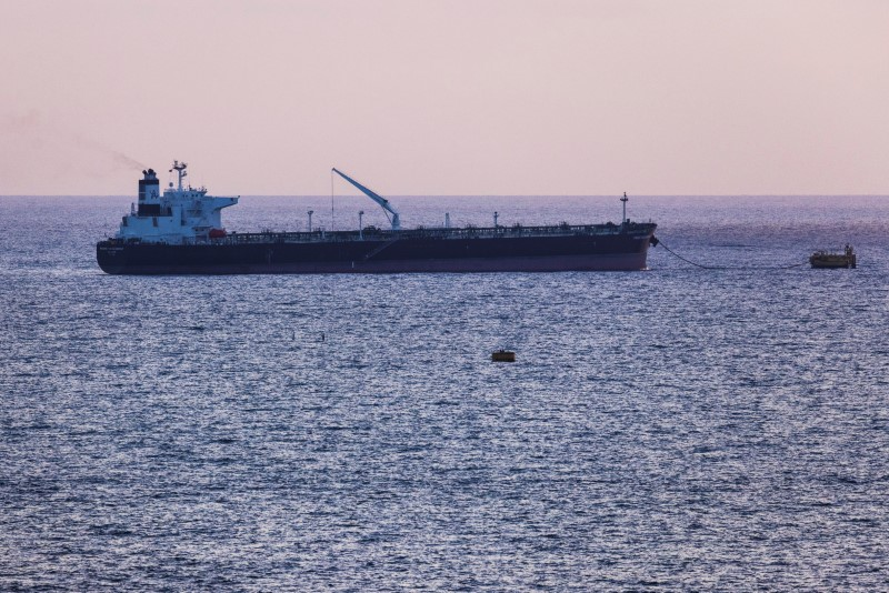 An oil tanker docks in the Mediterranean Sea near the oil port of Europe Asia Pipeline Company (EAPC), as seen from Ashkelon, Israel June 10, 2021. REUTERS/Amir Cohen