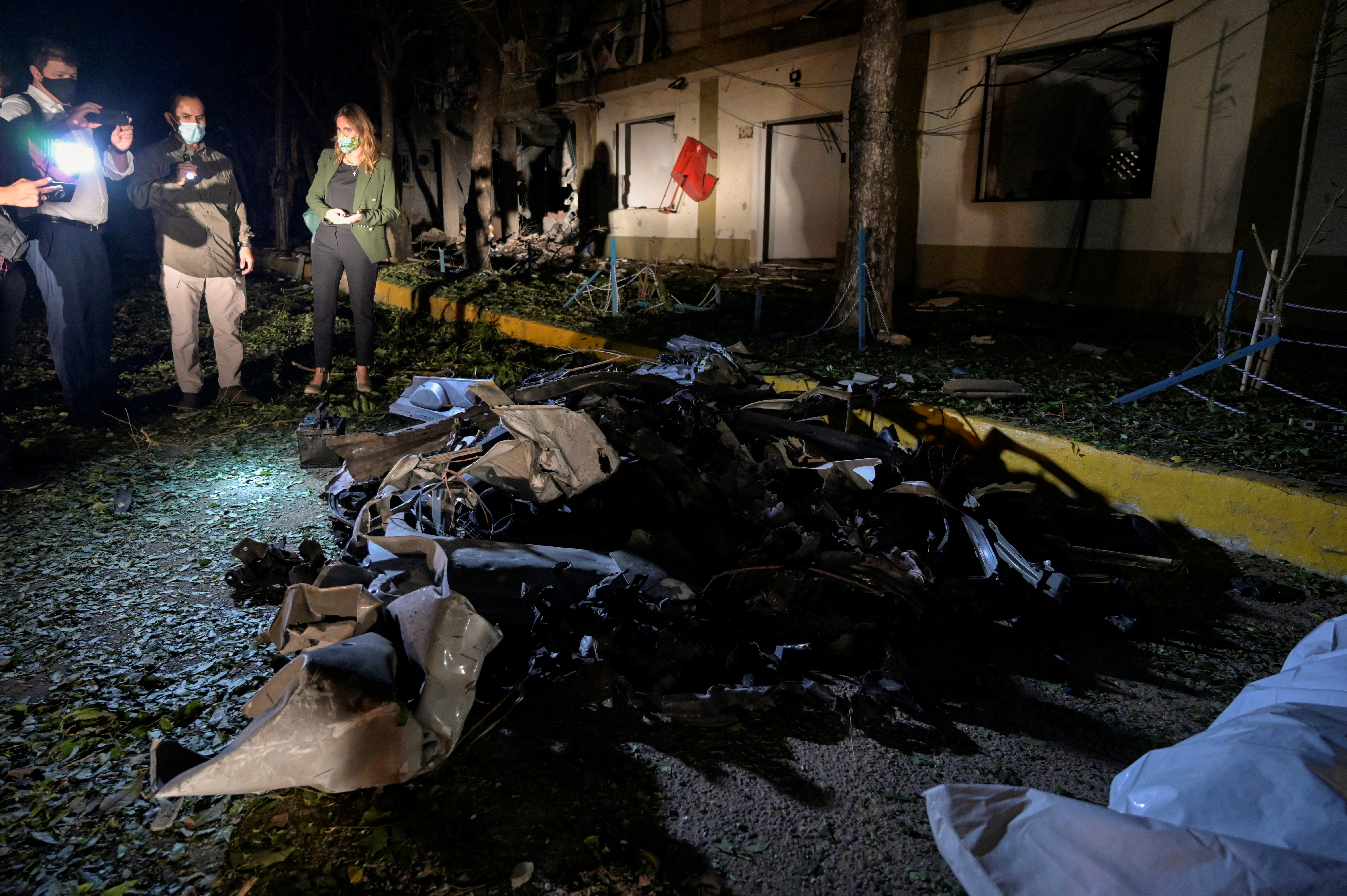 The remains of a car bomb that exploded inside a military base are seen in Cucuta, Colombia June 15, 2021. REUTERS/Stringer NO RESALES. NO ARCHIVES
