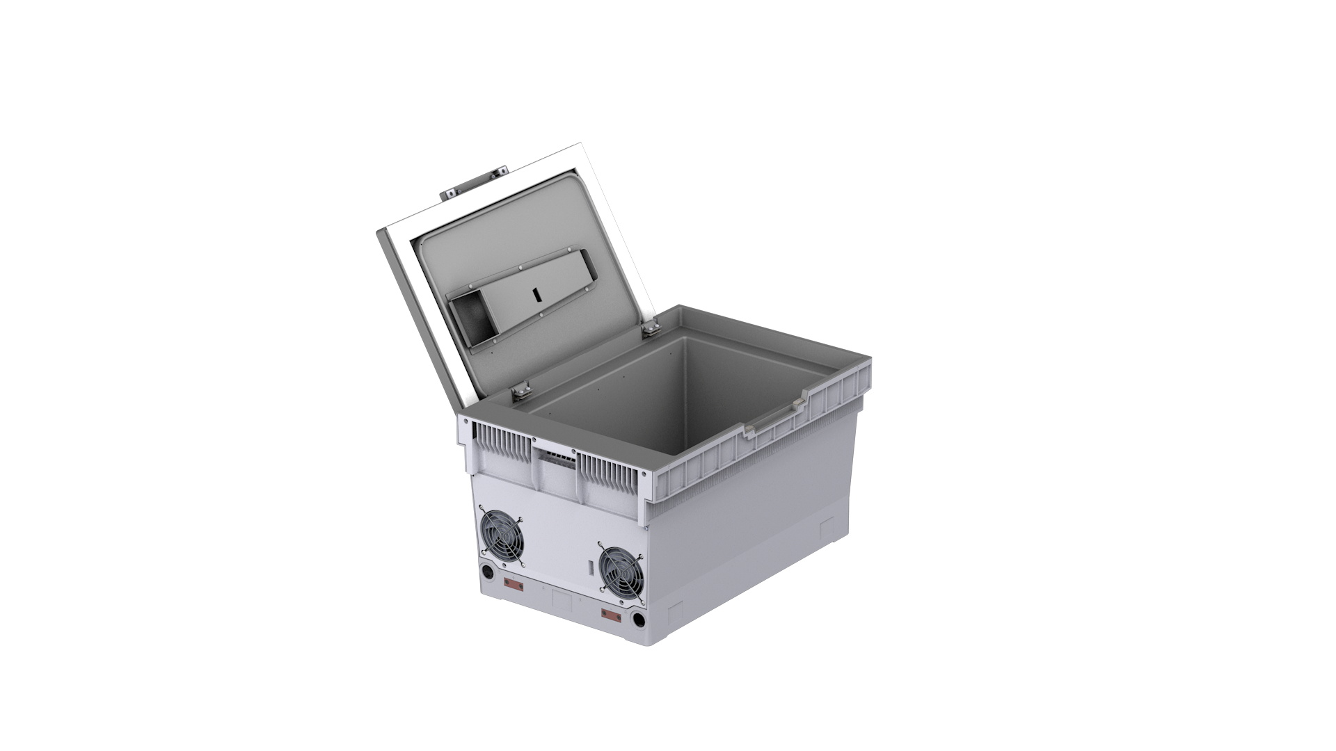A CAD image of the Phononic Intelligent Actively-Cooled Tote for Micro Fulfillment is seen in this handout image released July 21, 2021. PHONONIC/Handout via REUTERS
