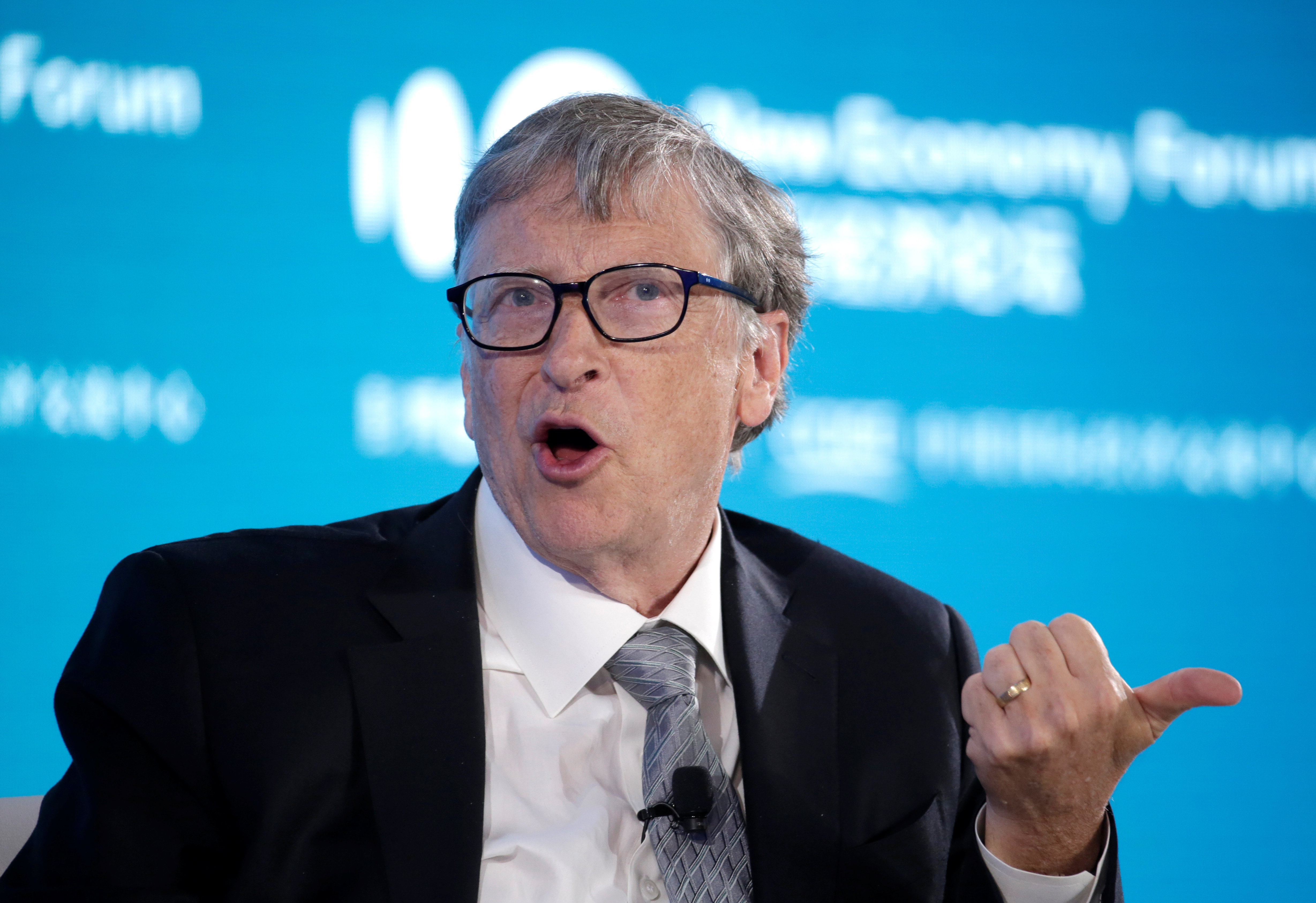 Bill Gates, Co-Chair of Bill & Melinda Gates Foundation, attends a conversation at the 2019 New Economy Forum in Beijing, China November 21, 2019. REUTERS/Jason Lee