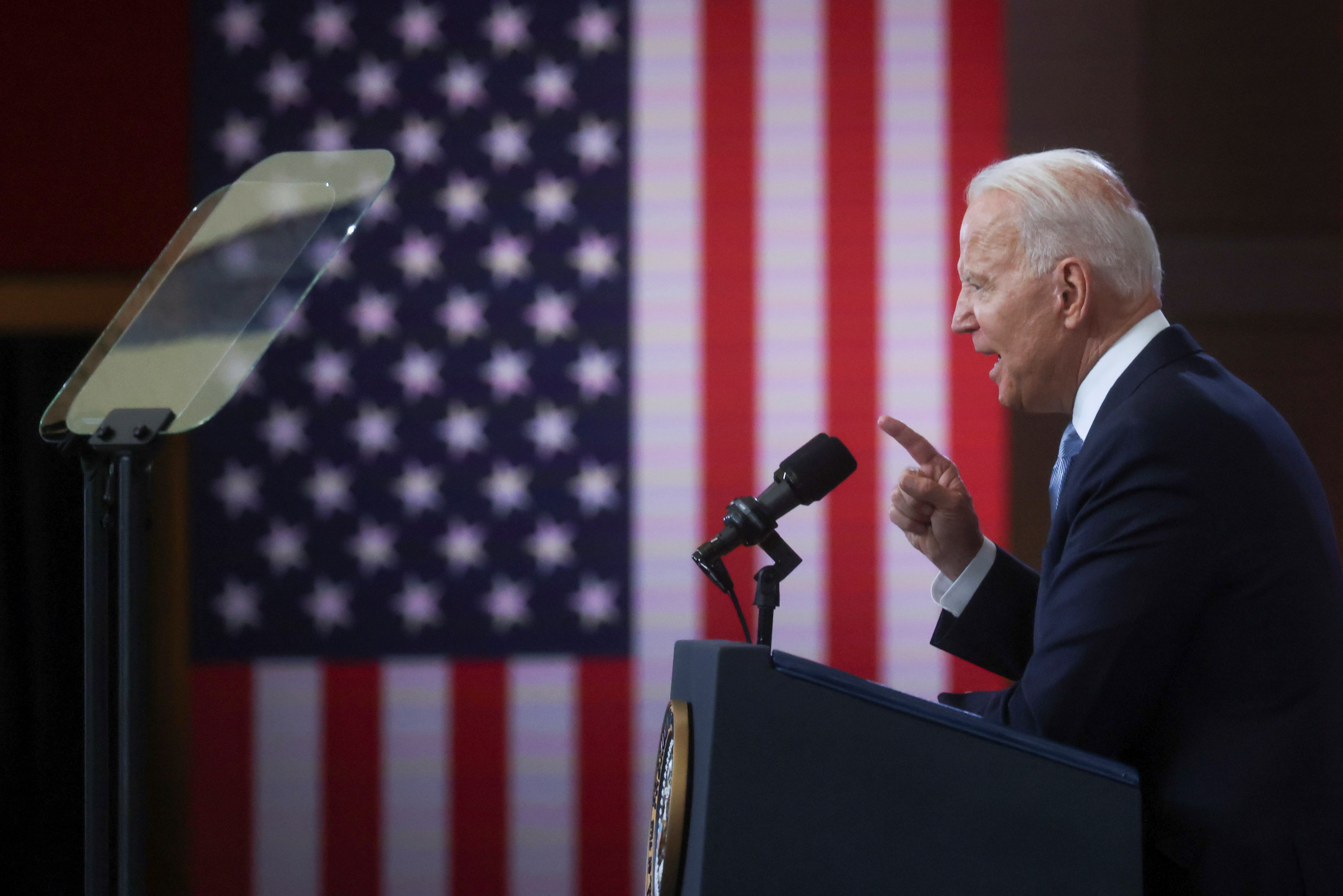 U.S. President Joe Biden delivers remarks on actions to protect voting rights in a speech at National Constitution Center in Philadelphia, Pennsylvania, U.S., July 13, 2021. REUTERS/Leah Millis