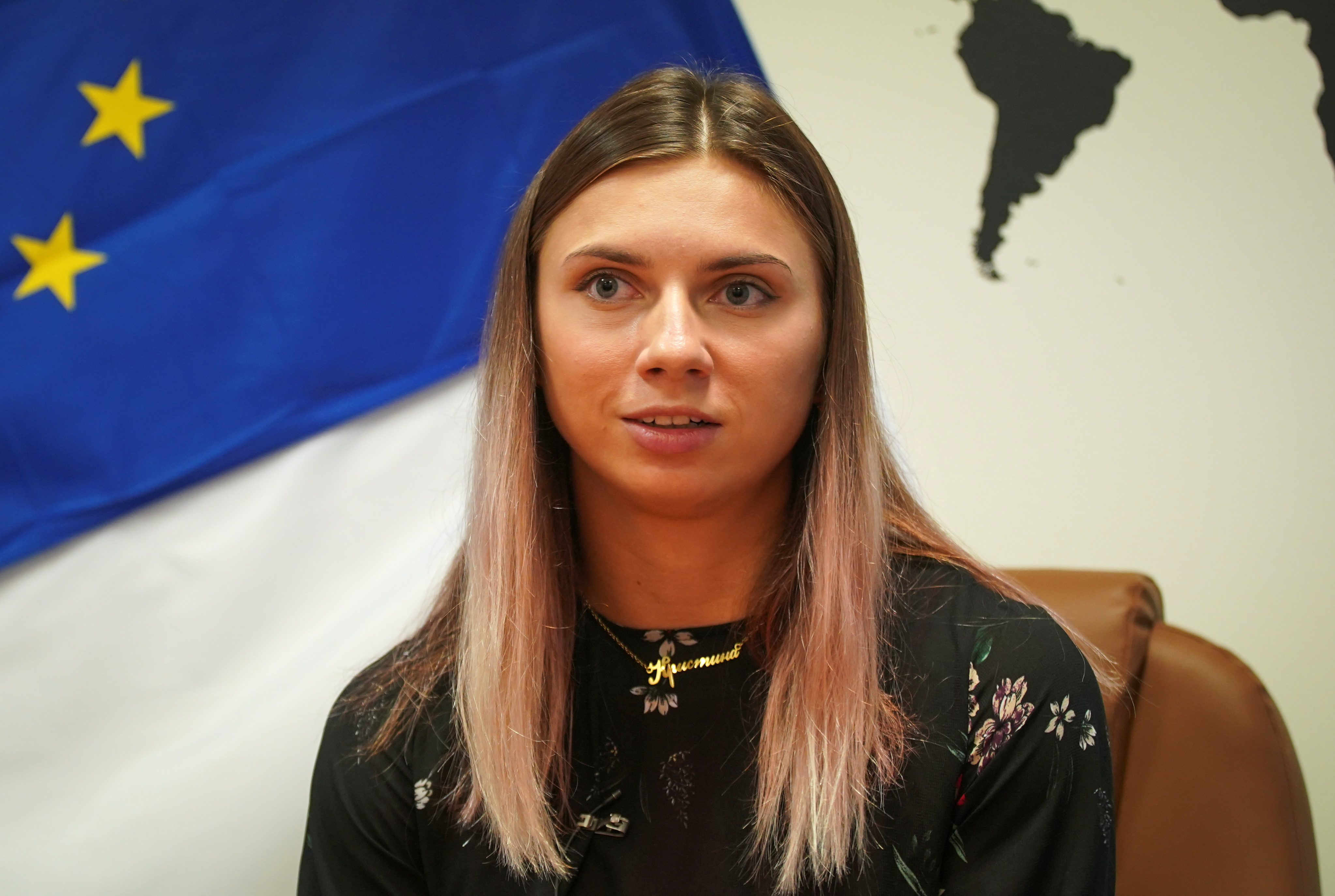 Belarusian sprinter Krystsina Tsimanouskaya, who left the Olympic Games in Tokyo and seeks asylum in Poland, attends an interview with Reuters in Warsaw, Poland August 5, 2021. REUTERS/Darek Golik
