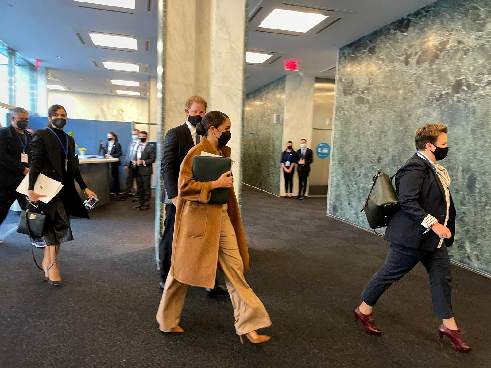 Prince Harry and Meghan Markle arrive at the United Nations to meet with U.N. Deputy Secretary-General Amina Mohammed, in New York City, U.S., September 25, 2021. REUTERS/Daphne Psaledakis