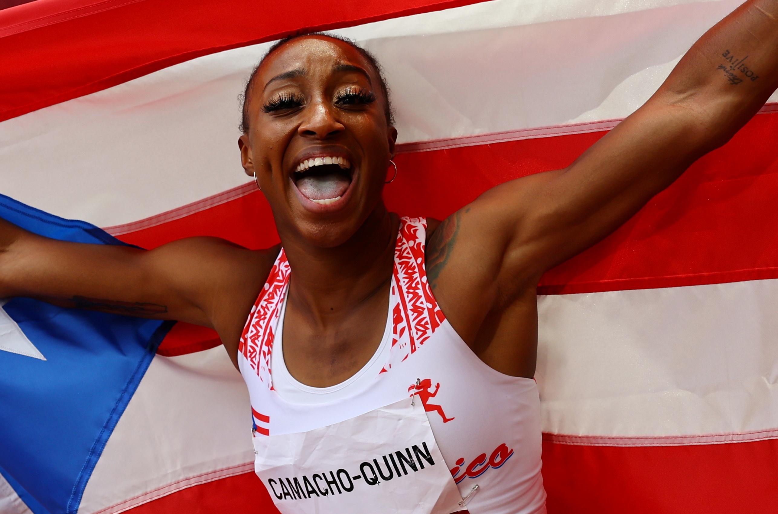 Tokyo 2020 Olympics - Athletics - Women's 100m Hurdles - Final - Olympic Stadium, Tokyo, Japan - August 2, 2021. Jasmine Camacho-Quinn of Puerto Rico celebrates winning gold REUTERS/Kai Pfaffenbach