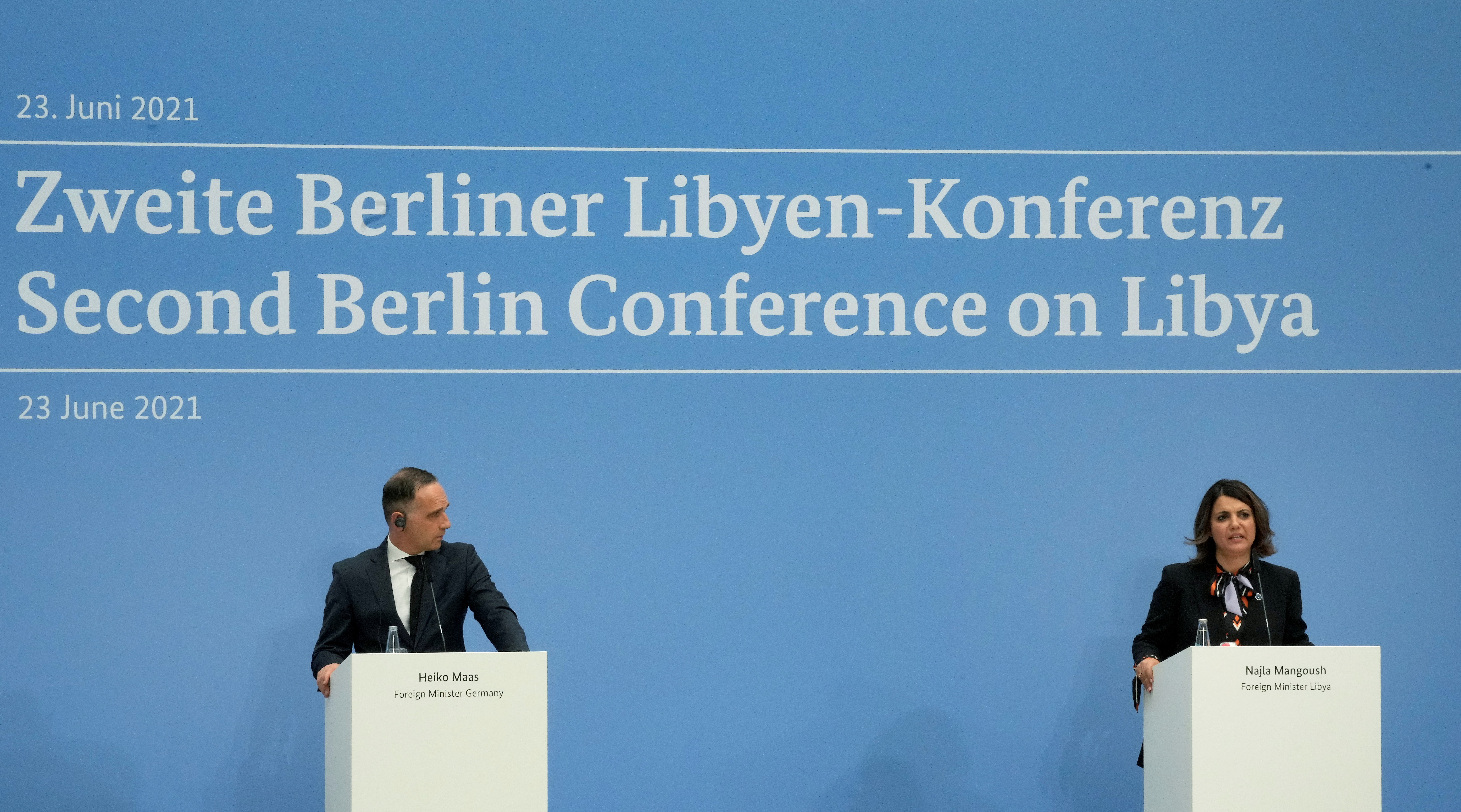 German Foreign Minister Heiko Maas and Libyan Foreign Minister Najla Mangoush attend a joint press conference as part of the 'Second Berlin Conference on Libya' at the foreign office in Berlin, Germany June 23, 2021. Michael Sohn/Pool via REUTERS