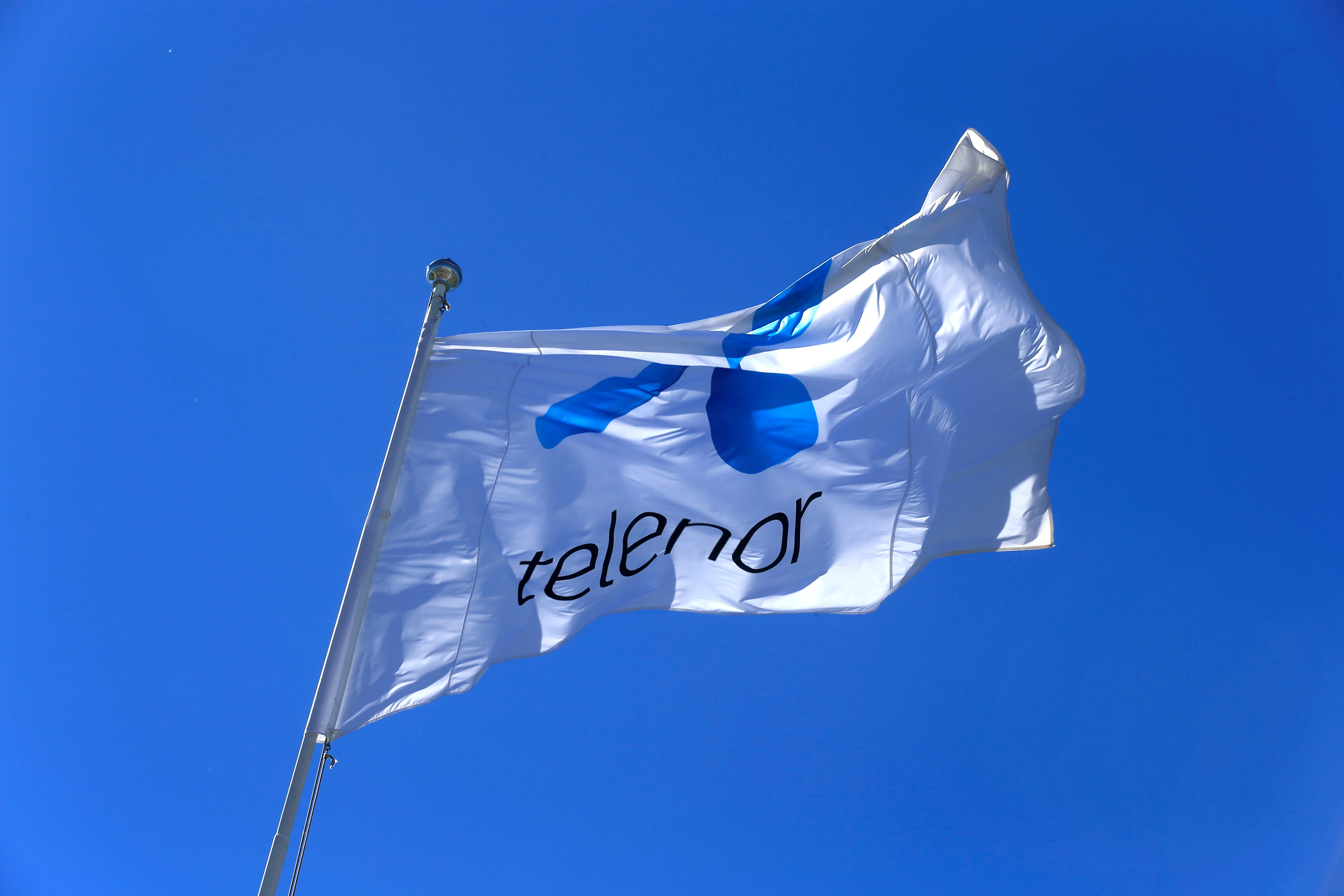 Telenor flag flutters next to the company's headquarters in Fornebu, Norway, June 1, 2017. REUTERS/Ints Kalnins/File Photo