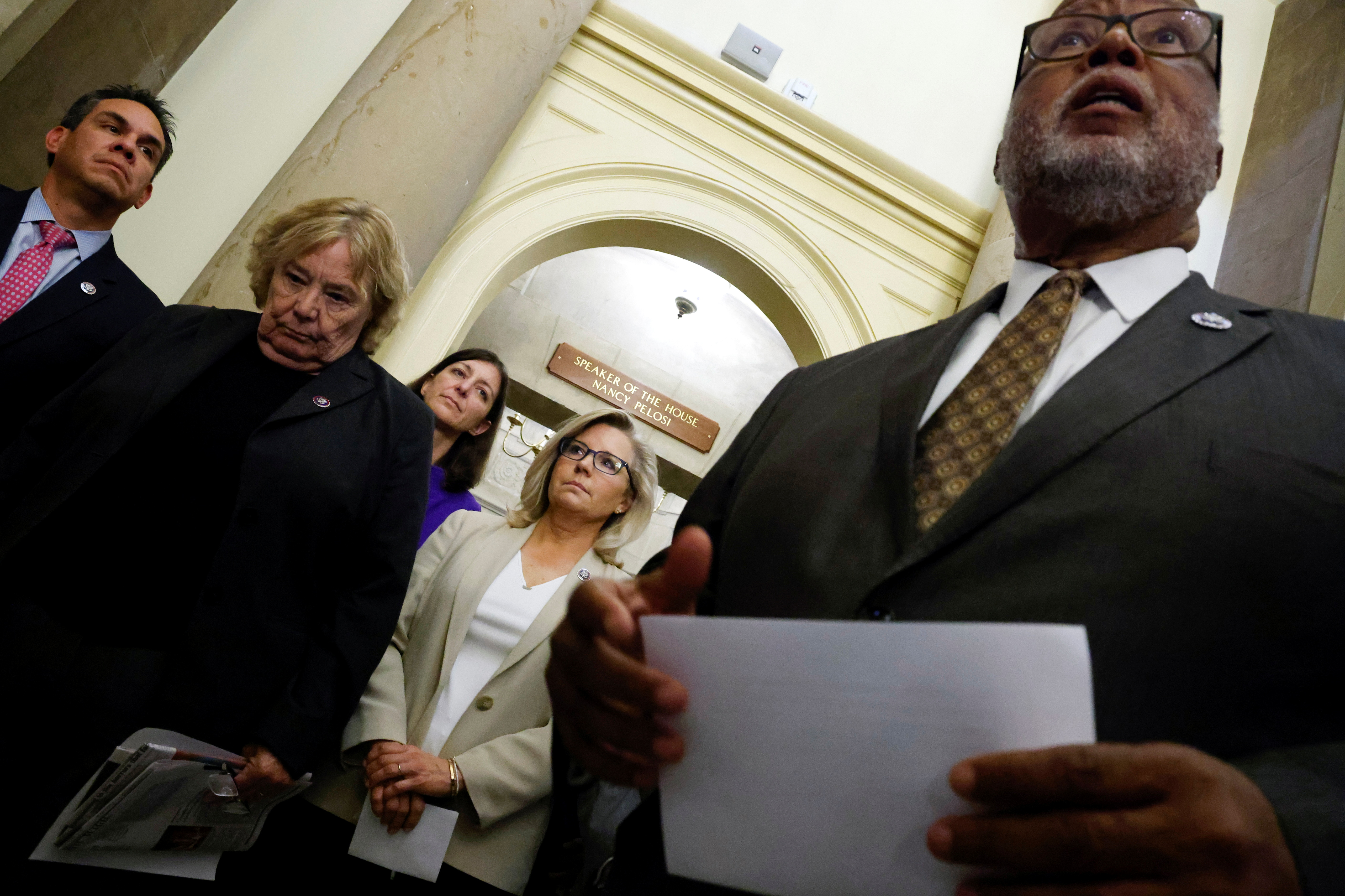 U.S. Representative Bennie Thompson (D-MS), chairman of the Select Committee to Investigate the January 6th Attack on the U.S. Capitol, is flanked by Rep. Pete Aguilar (D-CA), Rep. Zoe Lofgren (D-CA), Rep. Elaine Luria (D-VA) and Rep. Liz Cheney (R-WY) as he speaks to reporters after the committee met with House Speaker Nancy Pelosi (D-CA) at the Capitol in Washington, U.S. July 1, 2021.  REUTERS/Jonathan Ernst