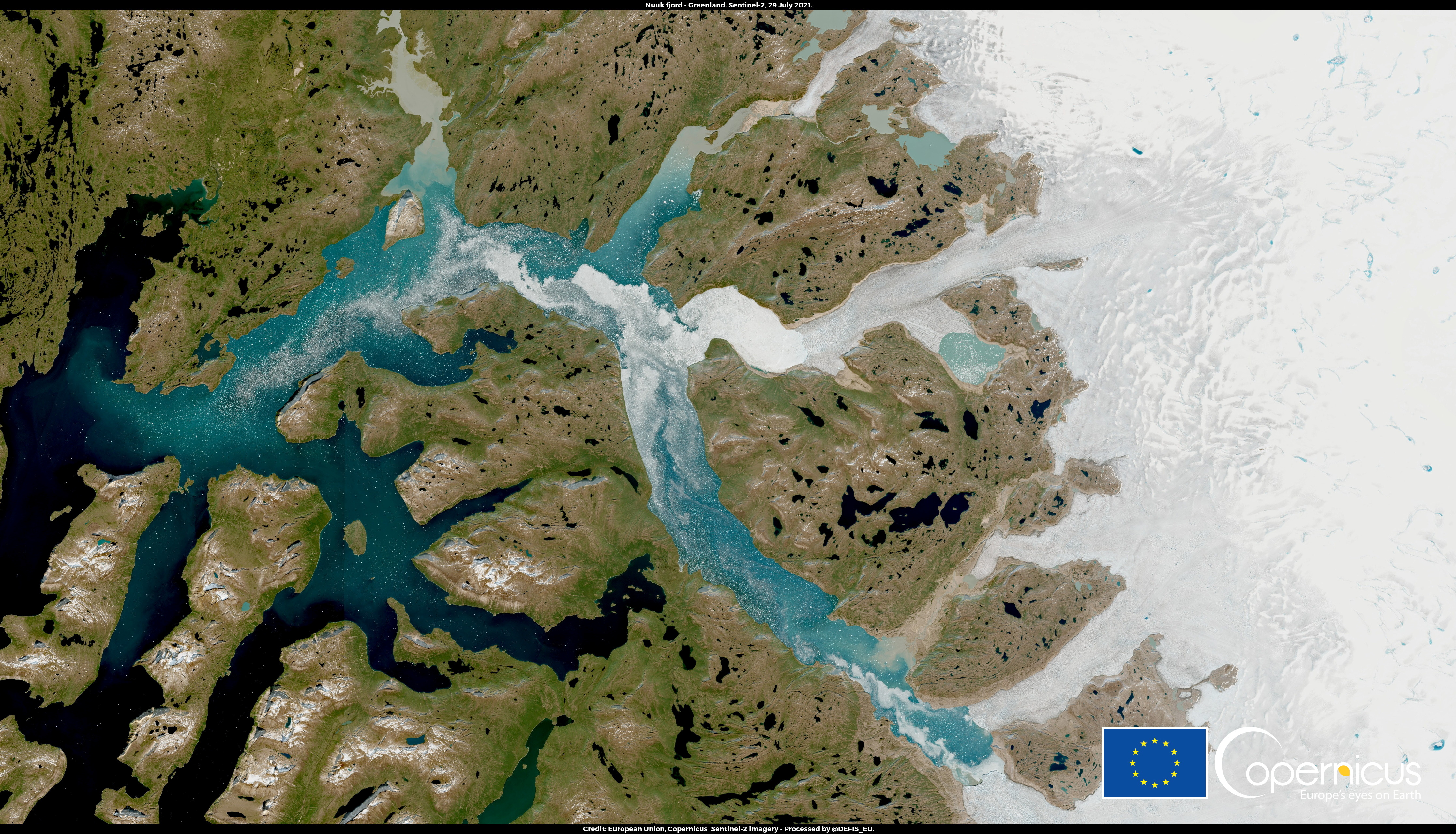 A satellite image shows Nuuk Fjord, Greenland July 29, 2021. European Union, Copernicus Sentinel-2 imagery - Processed by @DEFIS_EU/Handout via REUTERS