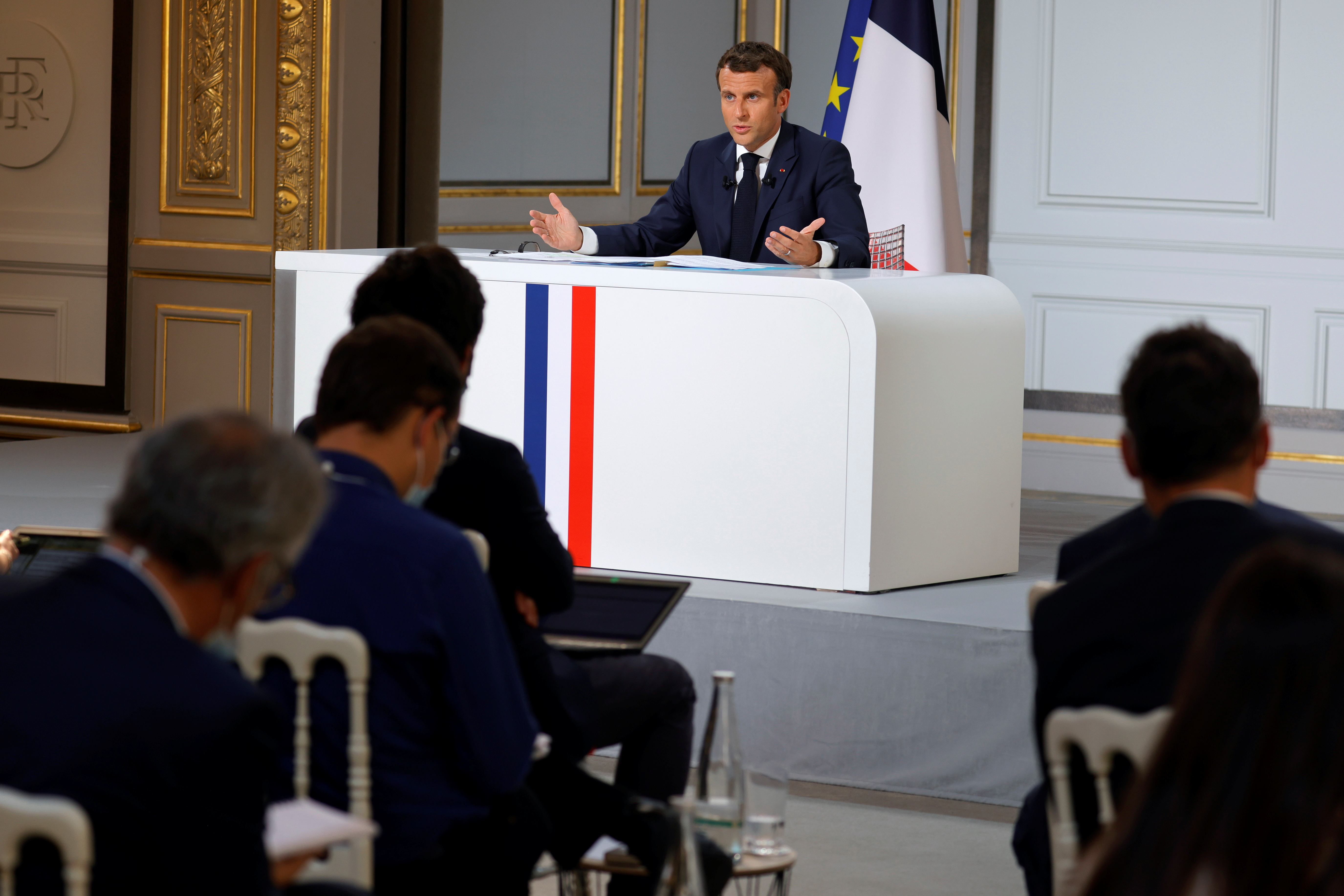 French President Emmanuel Macron speaks during a news conference ahead of the G7 Summit, at the Elysee Palace in Paris, France, June 10, 2021. REUTERS/Pascal Rossignol/Pool
