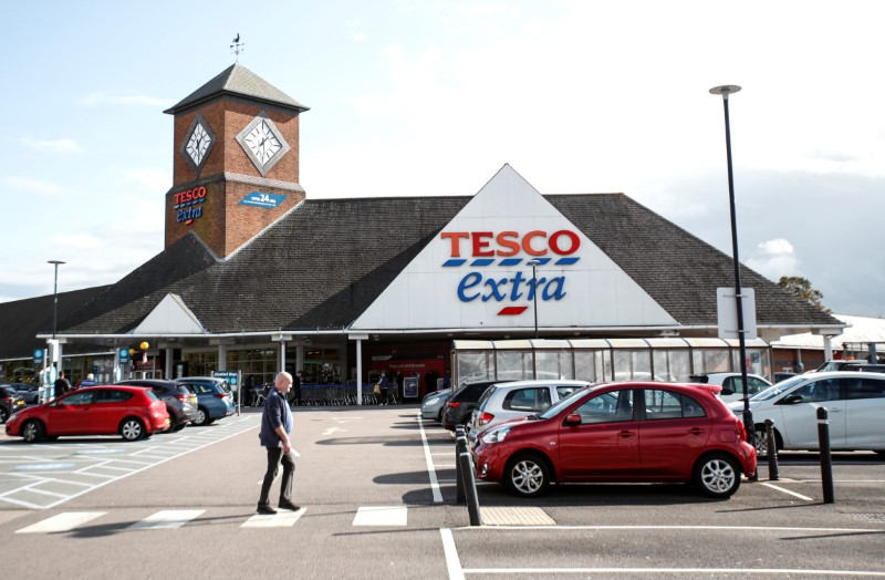 A general view shows a Tesco supermarket in Hatfield, Britain October 6, 2020. REUTERS/Peter Cziborra/File photo