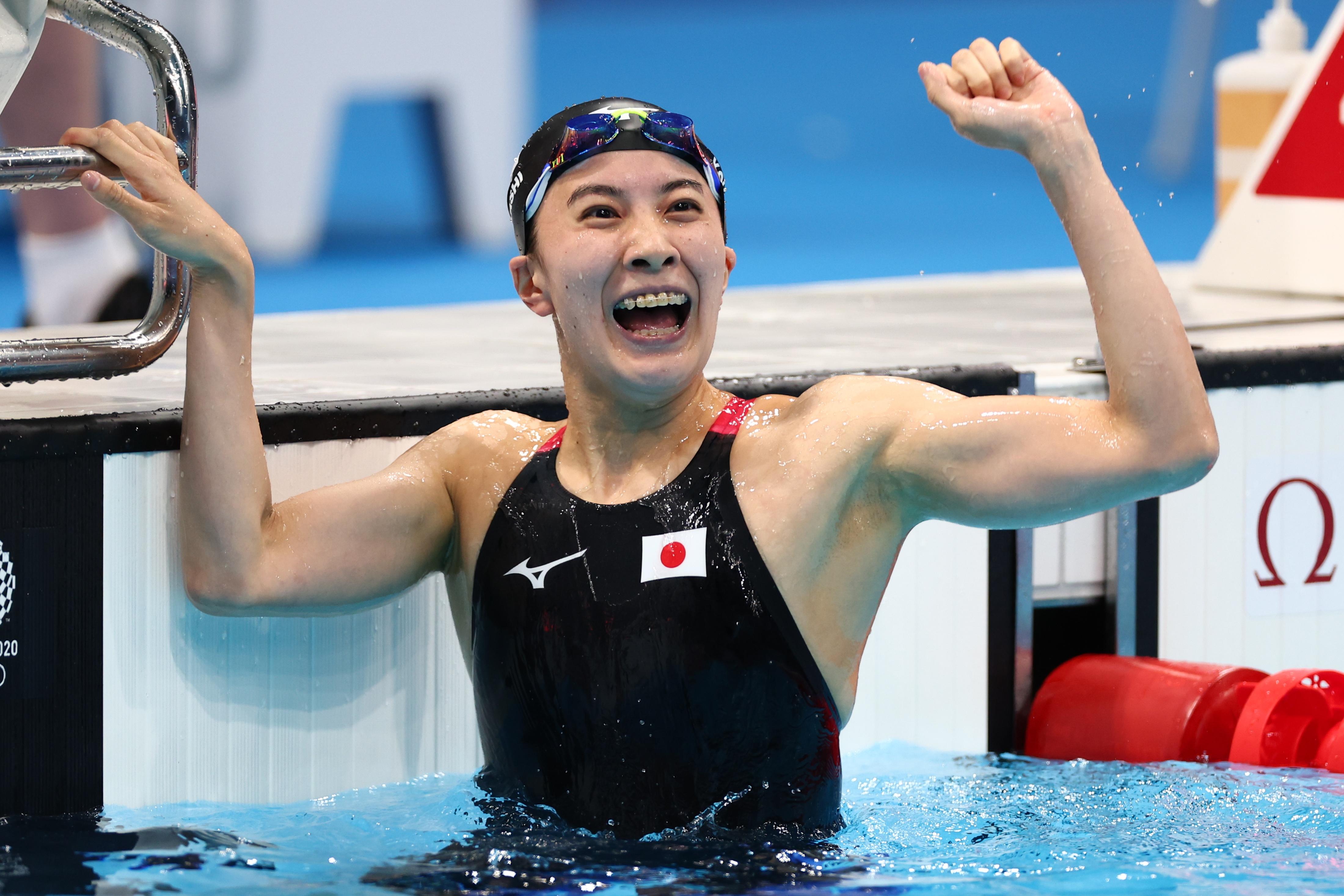 Tokyo 2020 Olympics - Swimming - Women's 400m Individual Medley - Final - Tokyo Aquatics Centre - Tokyo, Japan - July 25, 2021. Yui Ohashi of Japan celebrates after winning the gold medal REUTERS/Kai Pfaffenbach