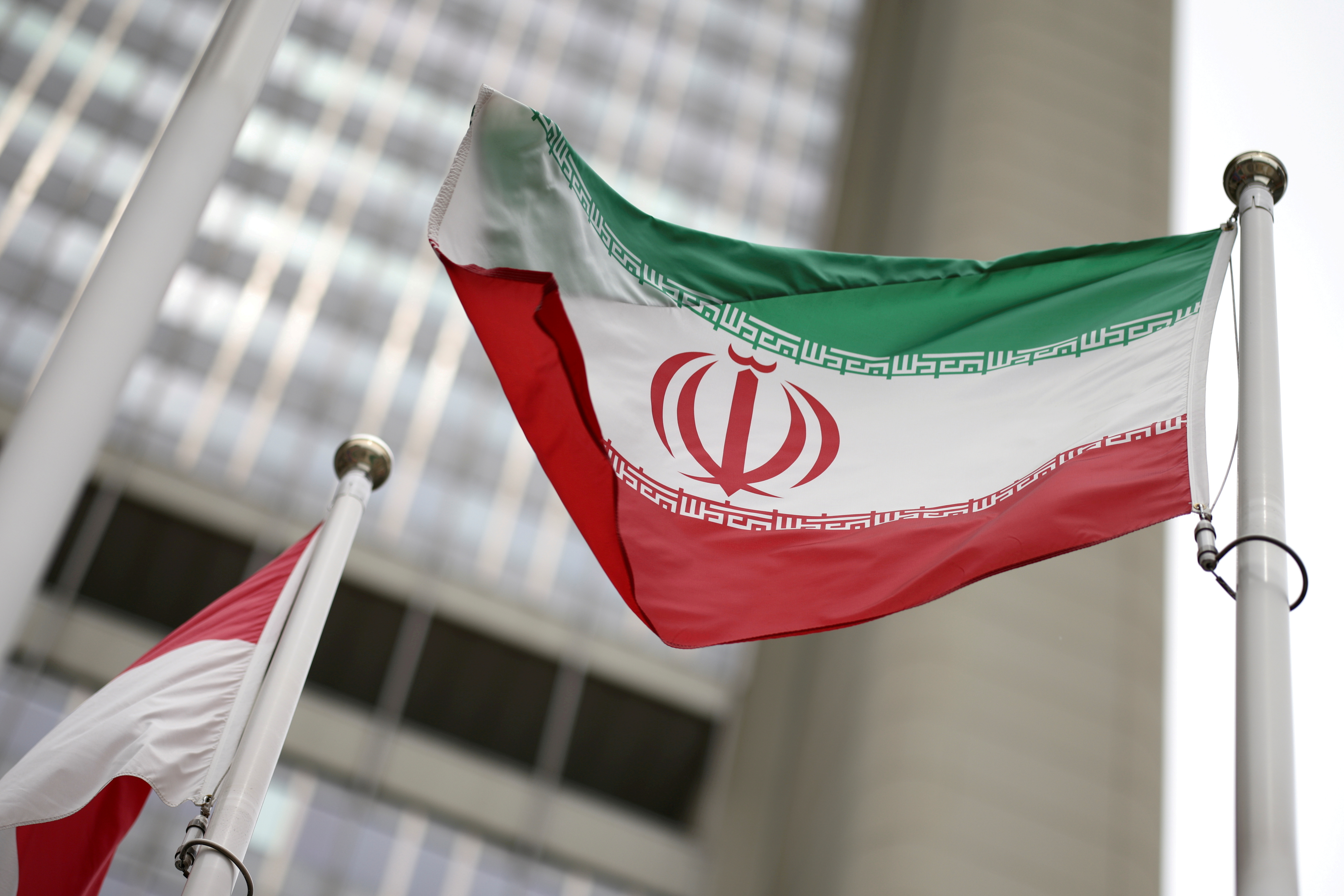 Iranian flag flies in front of the UN office building, housing IAEA headquarters, amid the coronavirus disease (COVID-19) pandemic, in Vienna, Austria, May 24, 2021. REUTERS/Lisi Niesner/