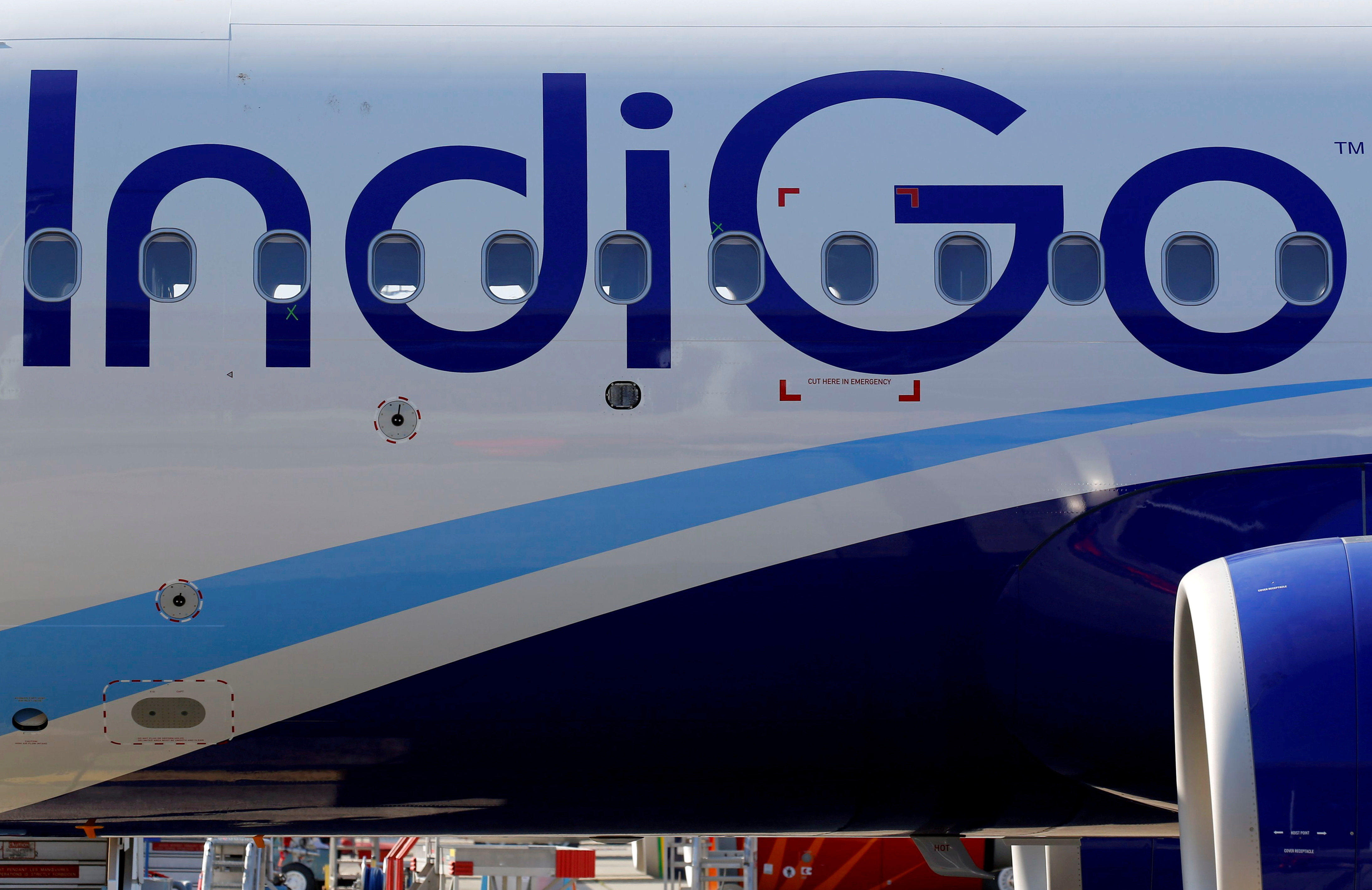 The logo of IndiGo Airlines is pictured on passenger aircraft on the tarmac in Colomiers near Toulouse, France, July 10, 2018. REUTERS/Regis Duvignau/File Photo