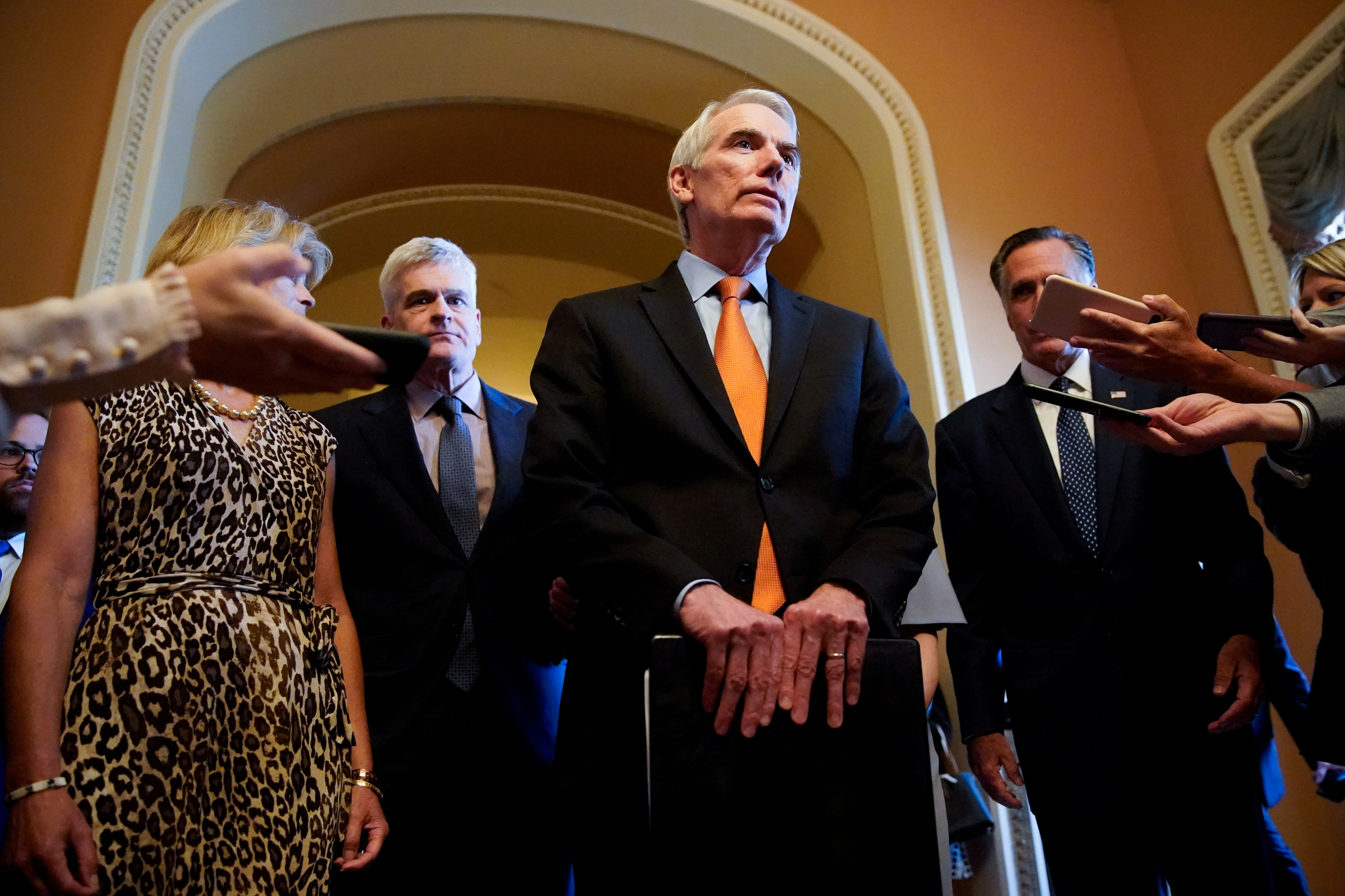 Senator Rob Portman (R-OH) speaks to reporters while announcing on an agreement on infrastructure with Senators Lisa Murkowski (R-AK), Bill Cassidy (R-LA), Susan Collins (R-ME) and Mitt Romney (R-UT) after meeting in Senate Minority Leader Mitch McConnell's office at the U.S. Capitol in Washington, U.S., July 28, 2021. REUTERS/Elizabeth Frantz/File Photo