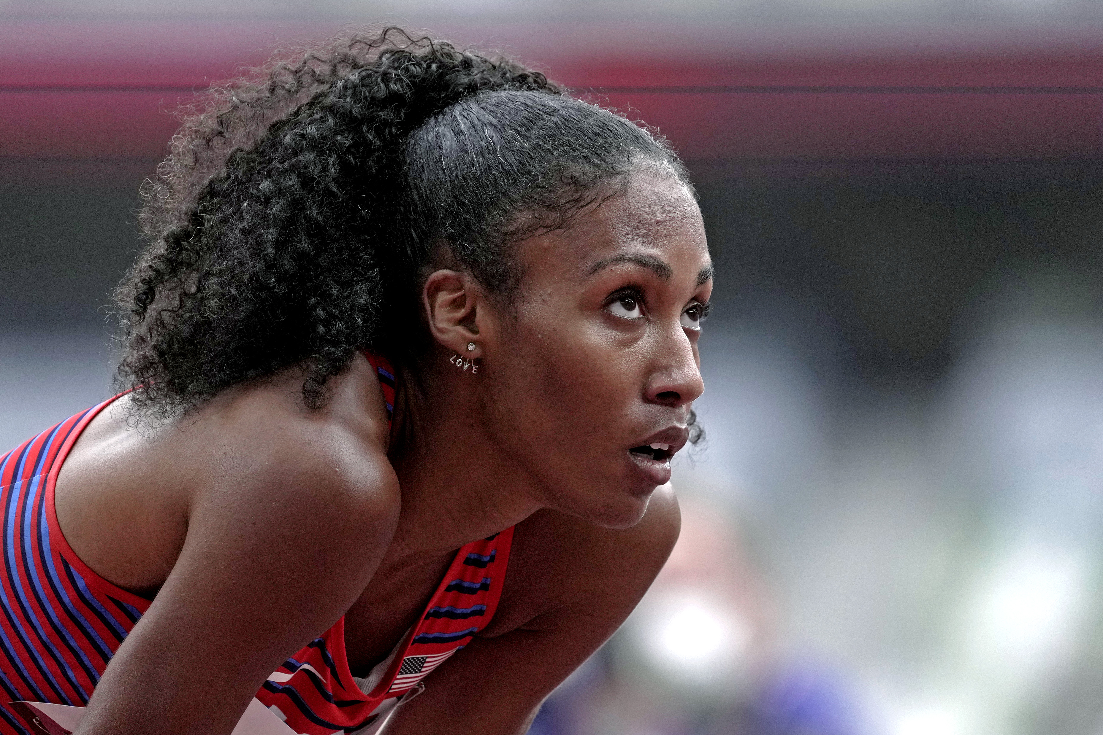 Jul 30, 2021; Tokyo, Japan; Ajee Wilson (USA) competes women's 800m heat 6 during the Tokyo 2020 Olympic Summer Games at Olympic Stadium. Mandatory Credit: James Lang-USA TODAY Sports