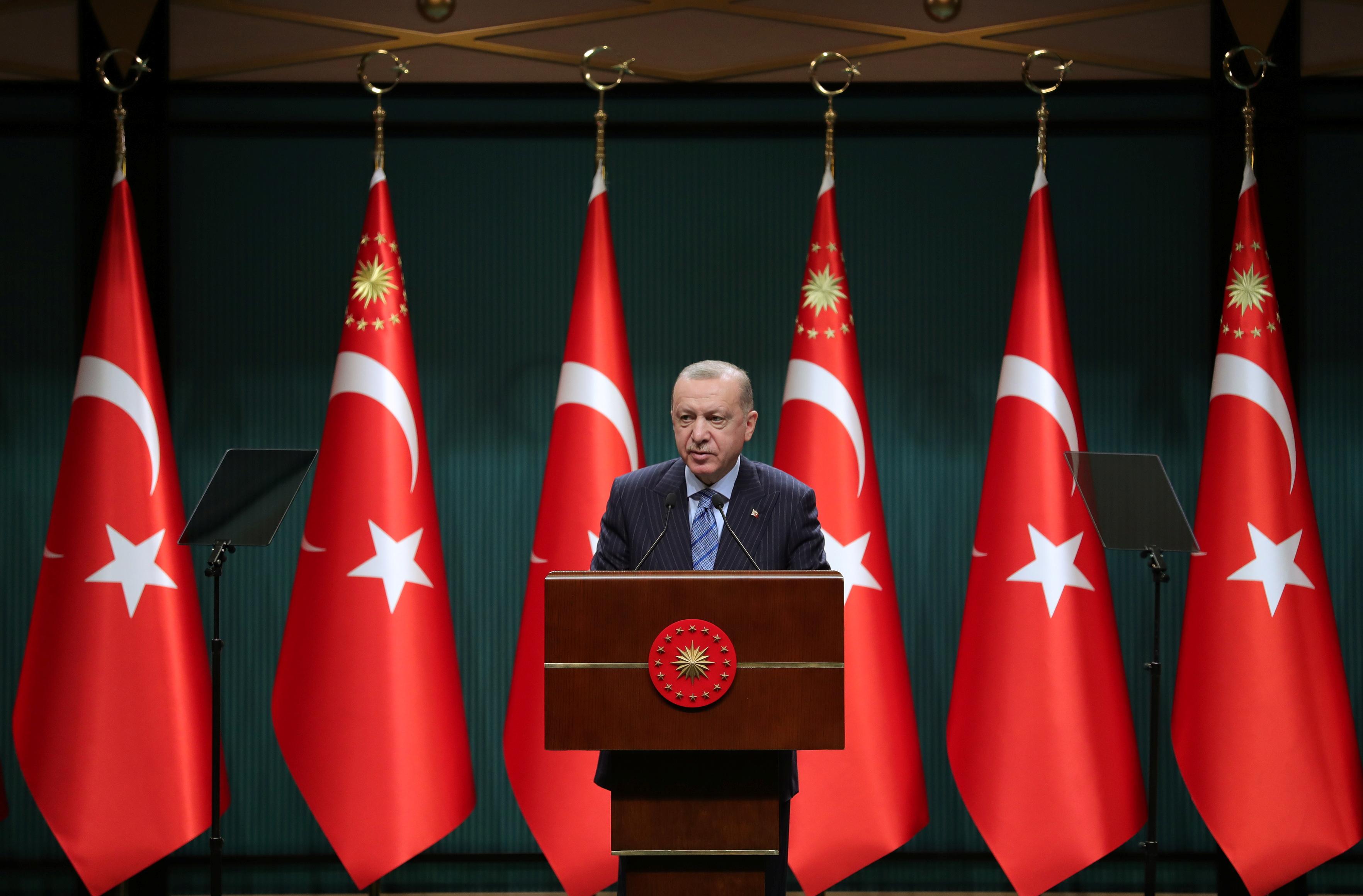 Turkish President Tayyip Erdogan gives a statement after a cabinet meeting in Ankara, Turkey, May 17, 2021. Murat Cetinmuhurdar/PPO/Handout via REUTERS