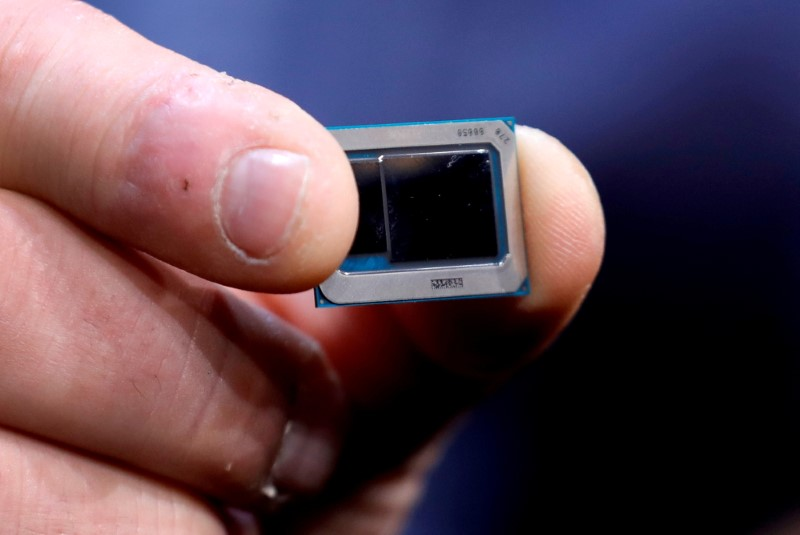 An Intel Tiger Lake chip is displayed at an Intel news conference during the 2020 CES in Las Vegas, Nevada, U.S. January 6, 2020. REUTERS/Steve Marcus