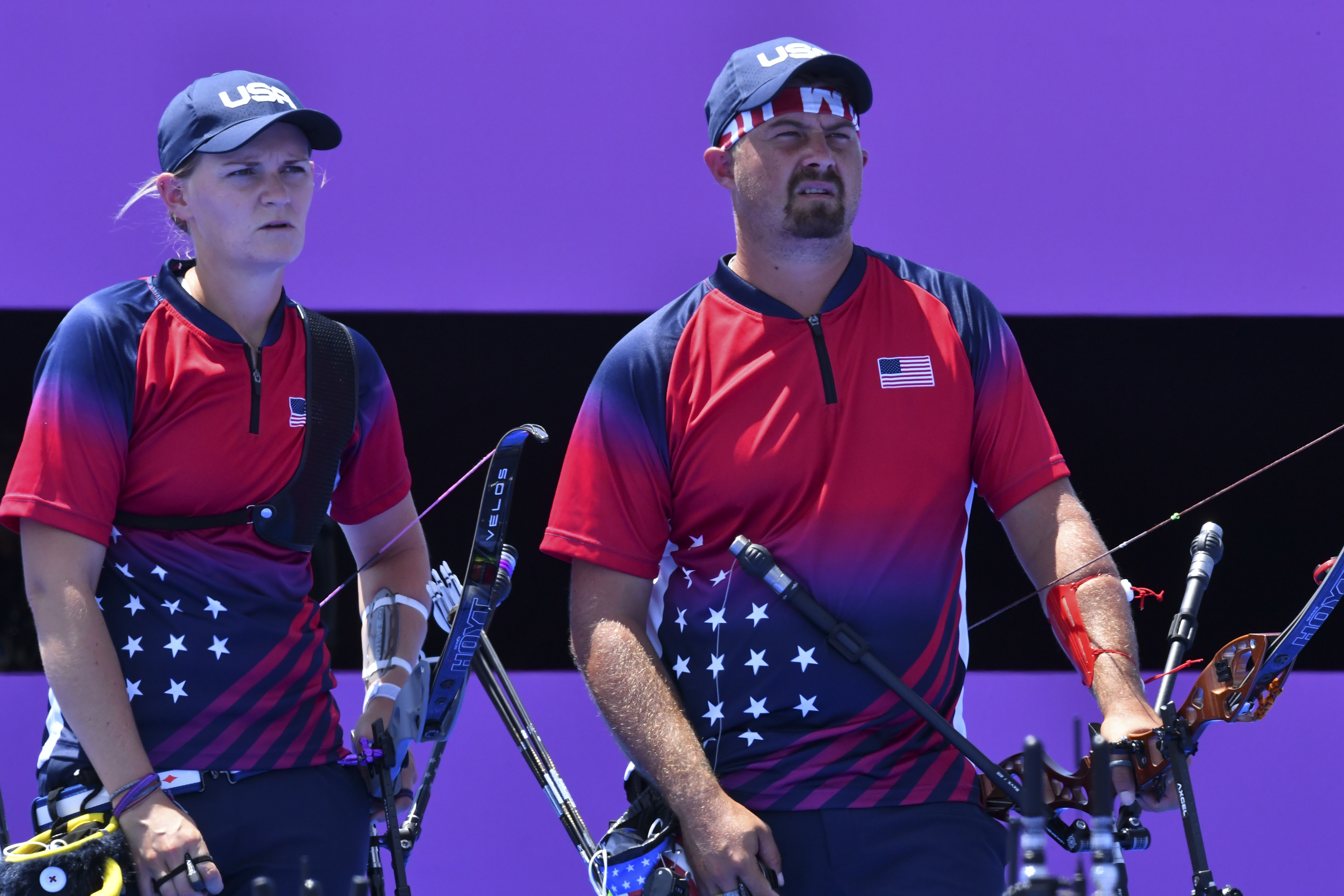 Tokyo 2020 Olympics - Archery - Mixed Team - 1/8 Finals - Yumenoshima Archery Field, Tokyo, Japan - July 24, 2021. Mackenzie Brown of the United States and Brady Ellison of the United States during competition REUTERS/Clodagh Kilcoyne