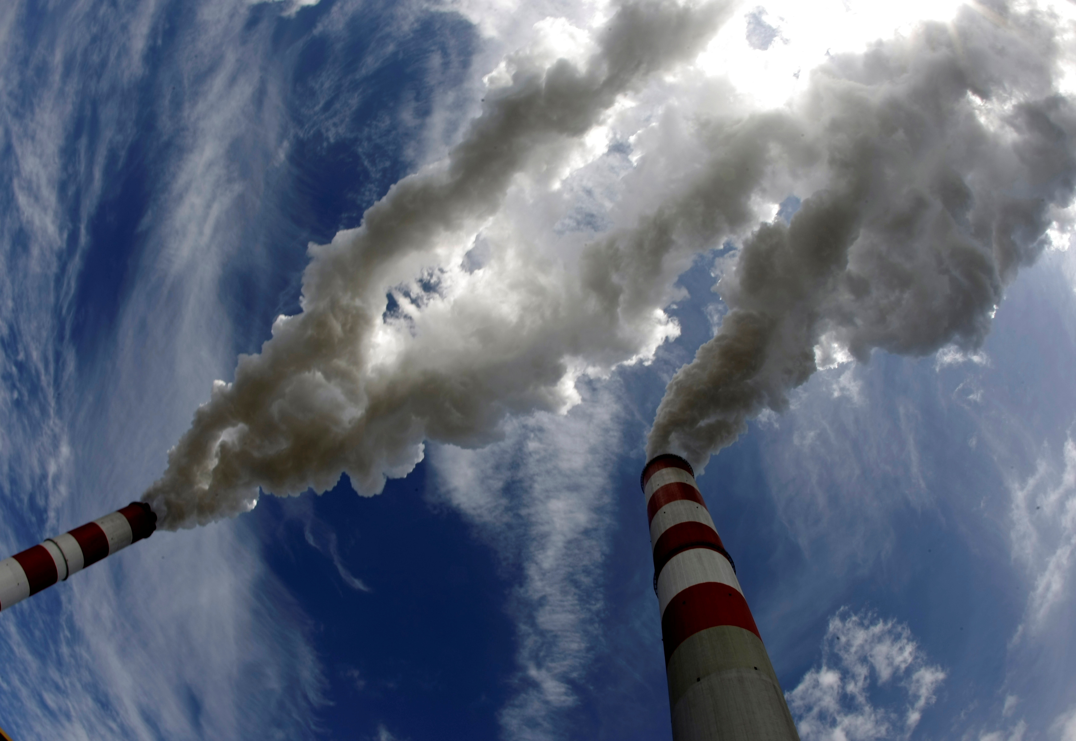 Smoke billows from the chimneys of Belchatow Power Station, Europe's biggest coal-fired power plant, in this May 7, 2009 file photo. REUTERS/Peter Andrews/File Photo