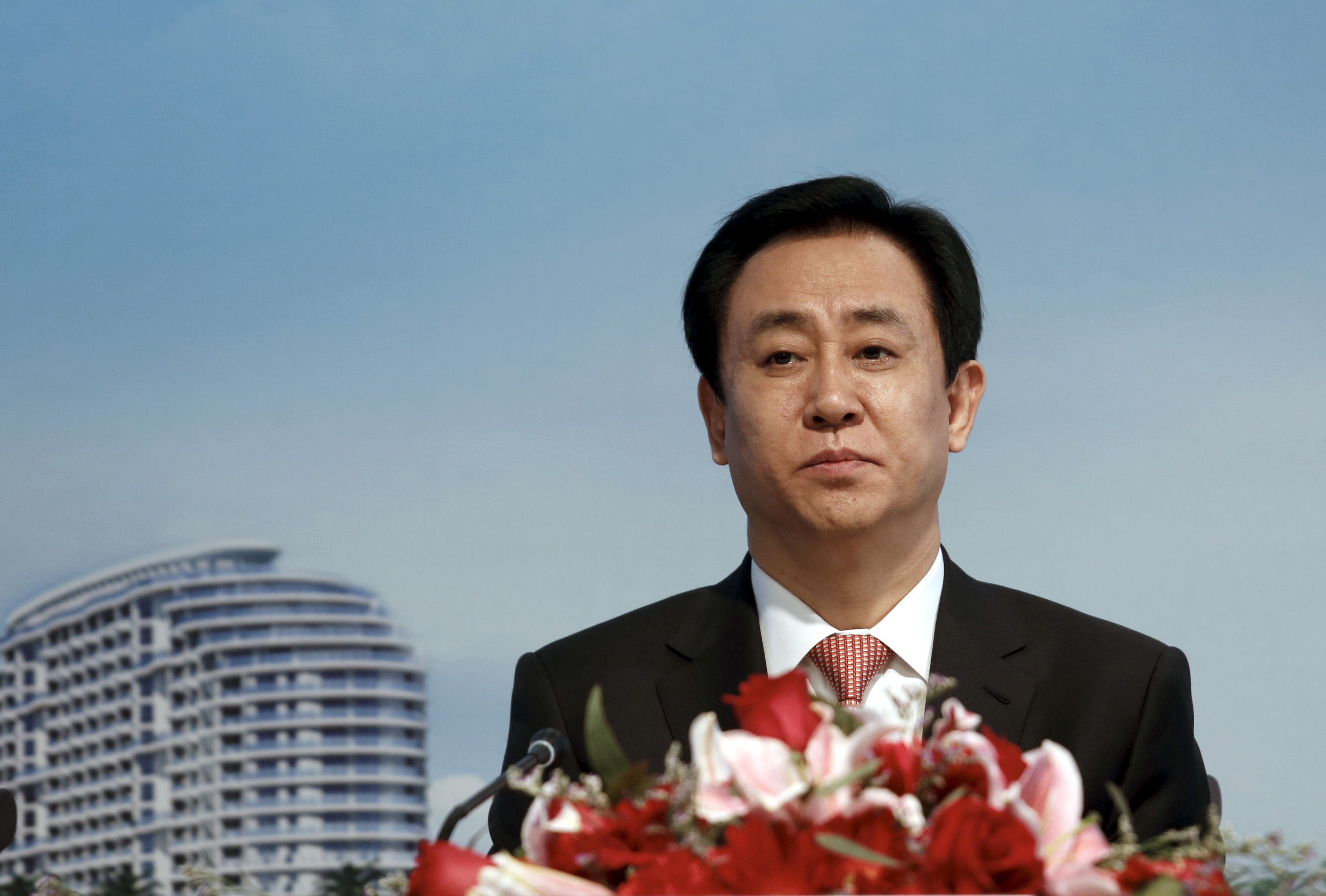 Hui Ka Yan, chairman of Evergrande Real Estate Group Ltd, the country's second-largest property developer by sales, attends a news conference on annual results in Hong Kong, China March 29, 2016.      REUTERS/Bobby Yip - GF10000363809