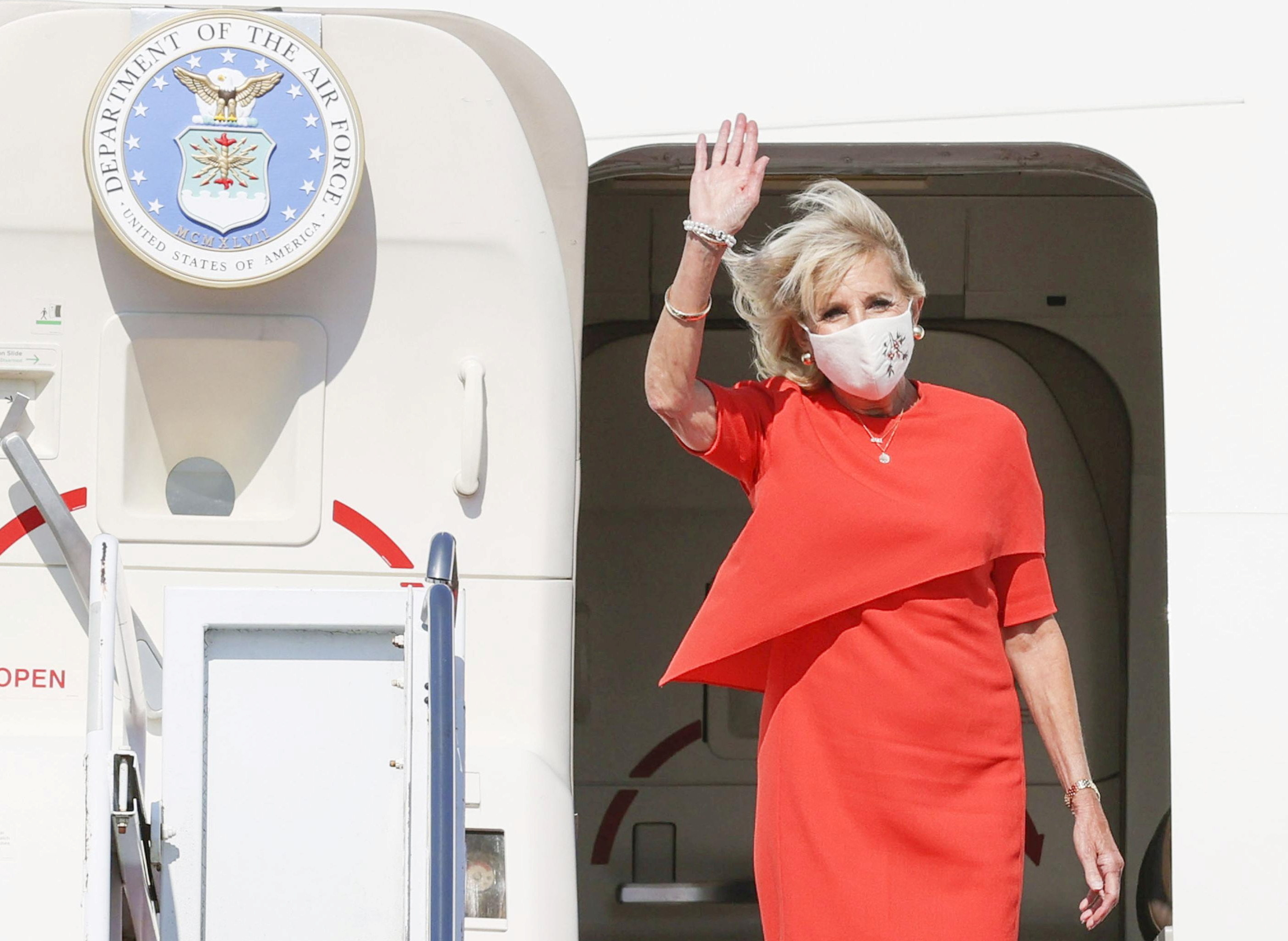 U.S. First Lady Jill Biden arrives at Yokota Air Base to attend the opening ceremony of the Tokyo 2020 Olympic Games in Tokyo, Japan, July 22, 2021, in this photo released by Kyodo. Mandatory credit Kyodo/via REUTERS