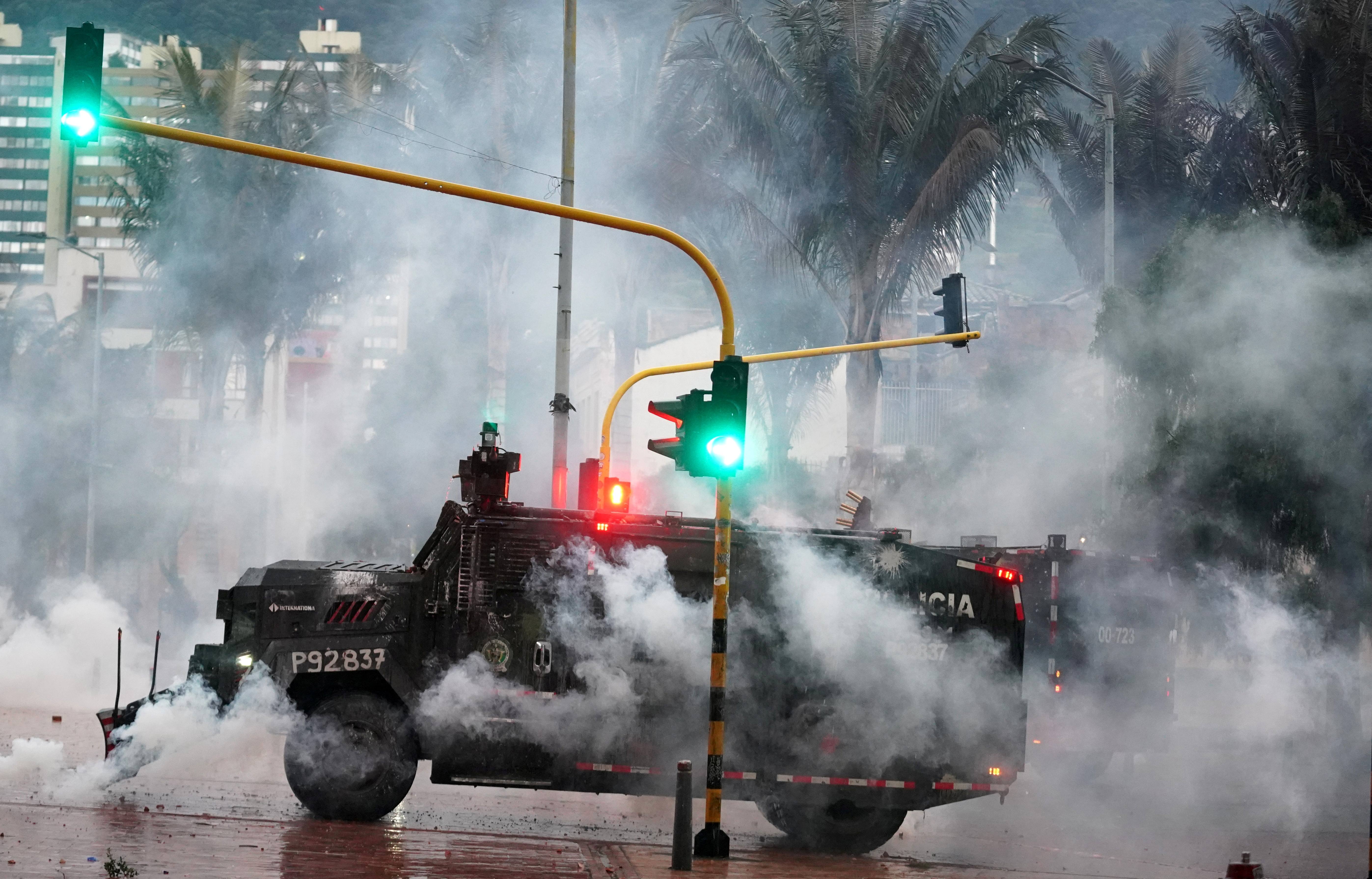 A police armored vehicle is pictured during a protest against poverty and police violence in Bogota, Colombia May 5, 2021.    REUTERS/Nathalia Angarita