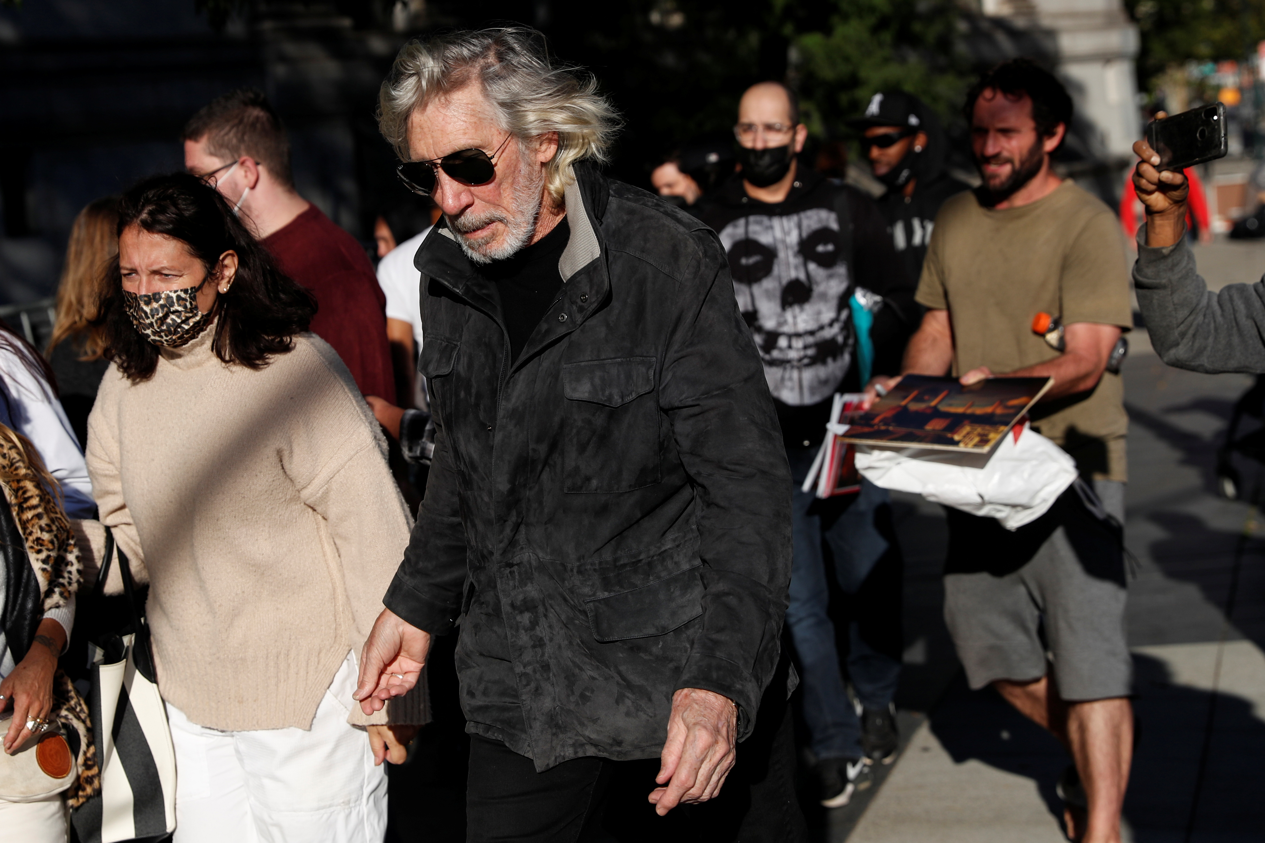 Musician Roger Waters arrives for the sentencing of attorney Steven Donziger, for criminal contempt stemming from Donziger's decades-long legal battle with Chevron Corp, outside the Manhattan Federal Courthouse in New York City, U.S., October 1, 2021. REUTERS/Shannon Stapleton