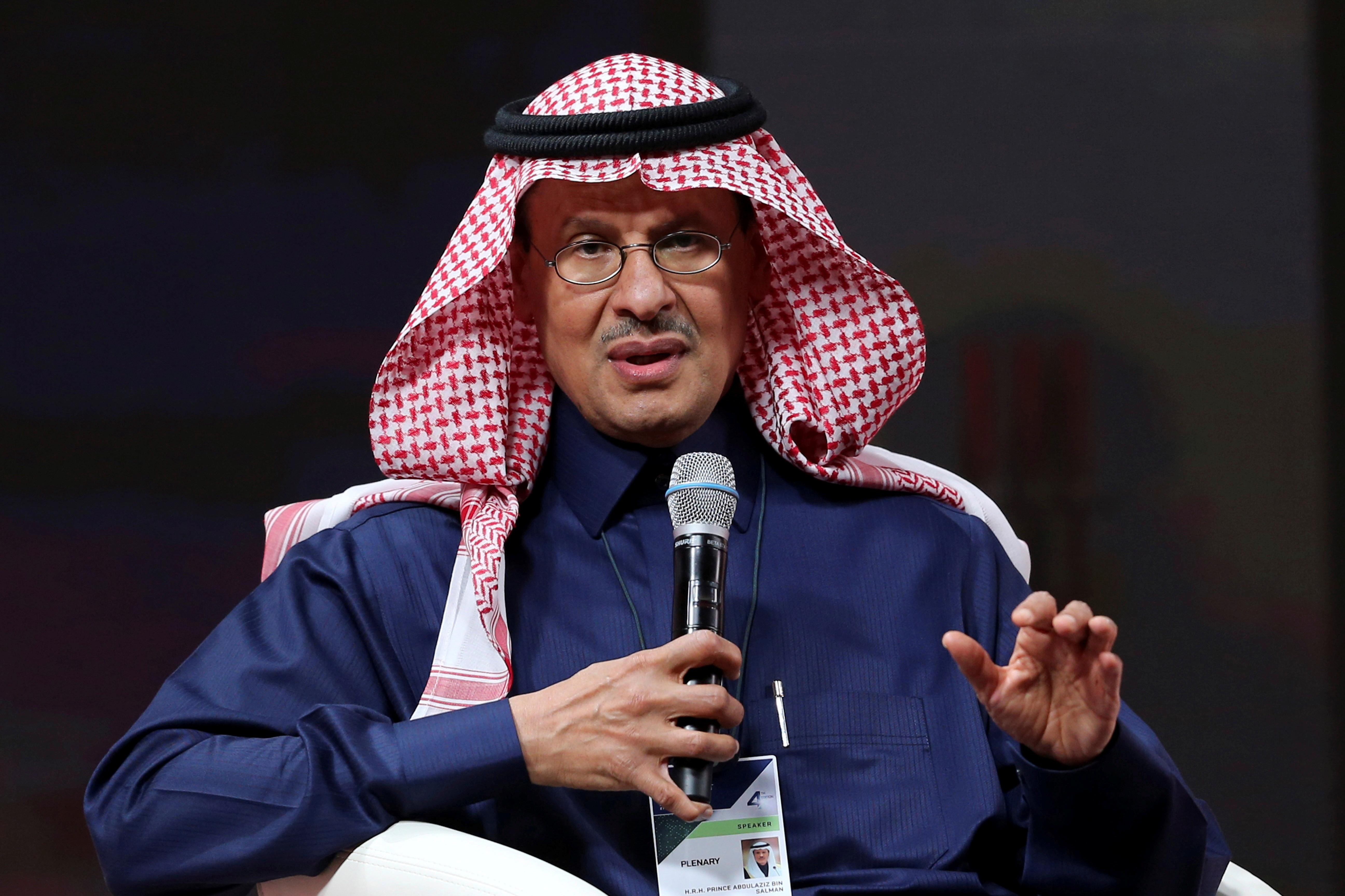 Saudi Energy Minister, Prince Abdulaziz bin Salman al-Saud, speaks during the fourth annual Future Investment Initiative in Riyadh, Saudi Arabia, January 27, 2021. REUTERS/Ahmed Yosri/File Photo