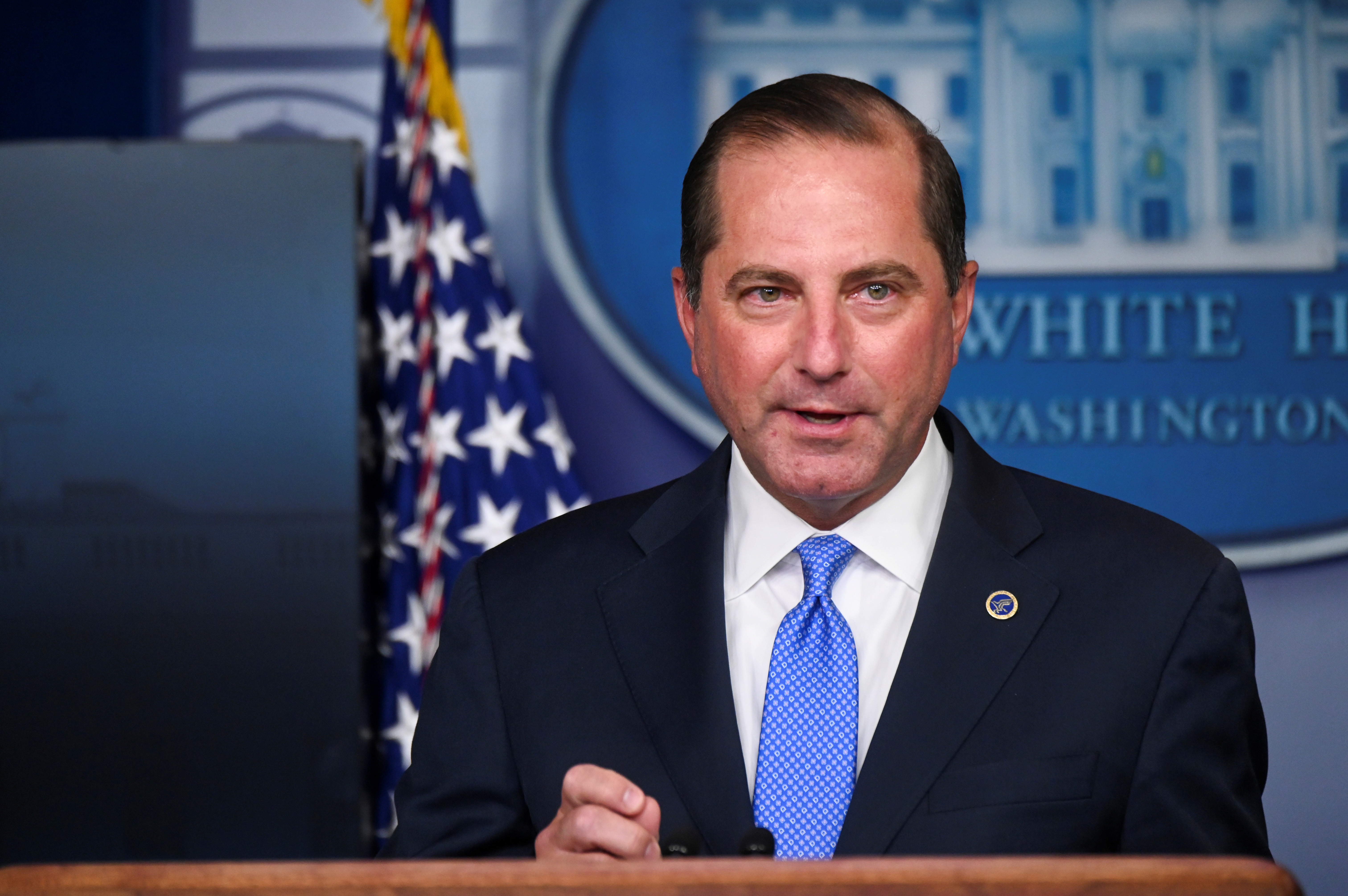 U.S. Health and Human Services (HHS) Secretary Alex Azar speaks during a news conference about the latest coronavirus disease (COVID-19) developments, in the Brady Press Briefing Room of the White House in Washington, U.S. August 23, 2020. REUTERS/Erin Scott/File Photo