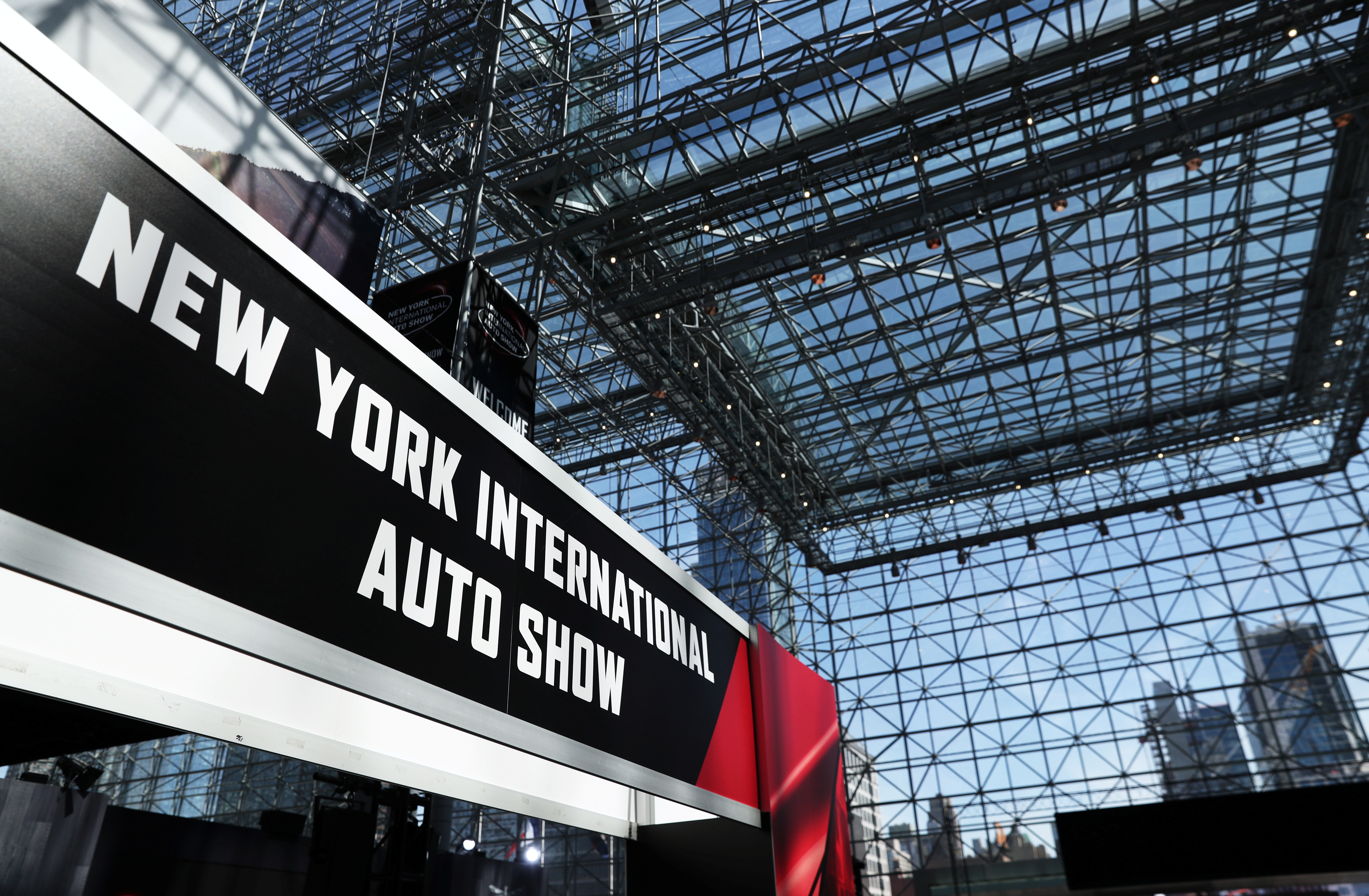 A sign for the auto show is pictured at the 2019 New York International Auto Show in New York City, New York, U.S, April 17, 2019. REUTERS/Shannon Stapleton