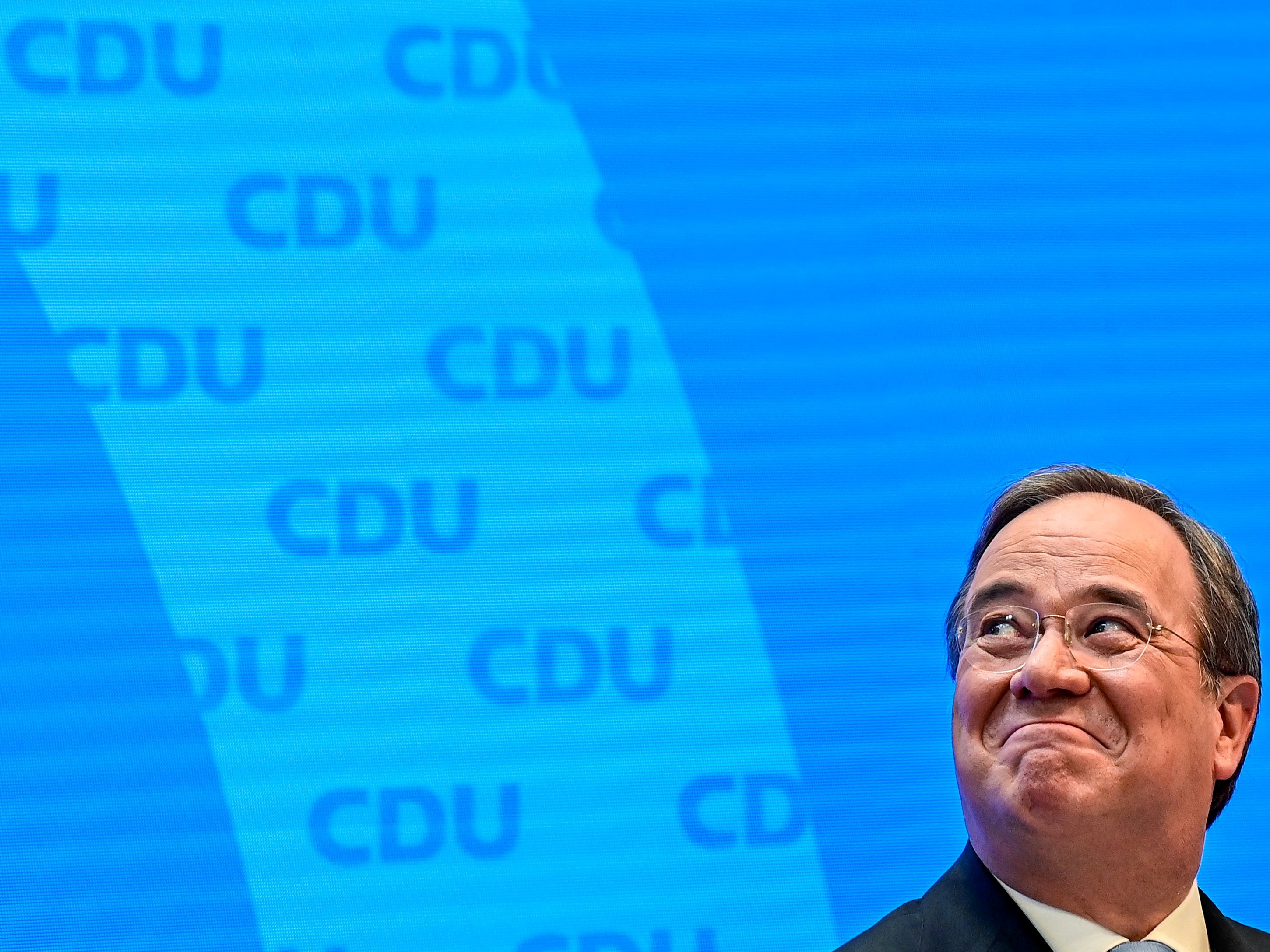 North Rhine-Westphalia's State Premier and head of Christian Democratic Union (CDU) party Armin Laschet gives a news conference at the CDU headquarters in Berlin, Germany April 20, 2021.  Tobias Schwarz/Pool via REUTERS/File Photo