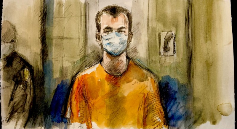 Nathaniel Veltman, 20, accused of mowing down a Muslim family with his pickup truck in what Canadian police are calling a hate-motivated attack, appears briefly by Zoom before a judge during a court appearance in London, Ontario, Canada, June 10, 2021 in this courtroom sketch. Pam Davies/Handout via REUTERS