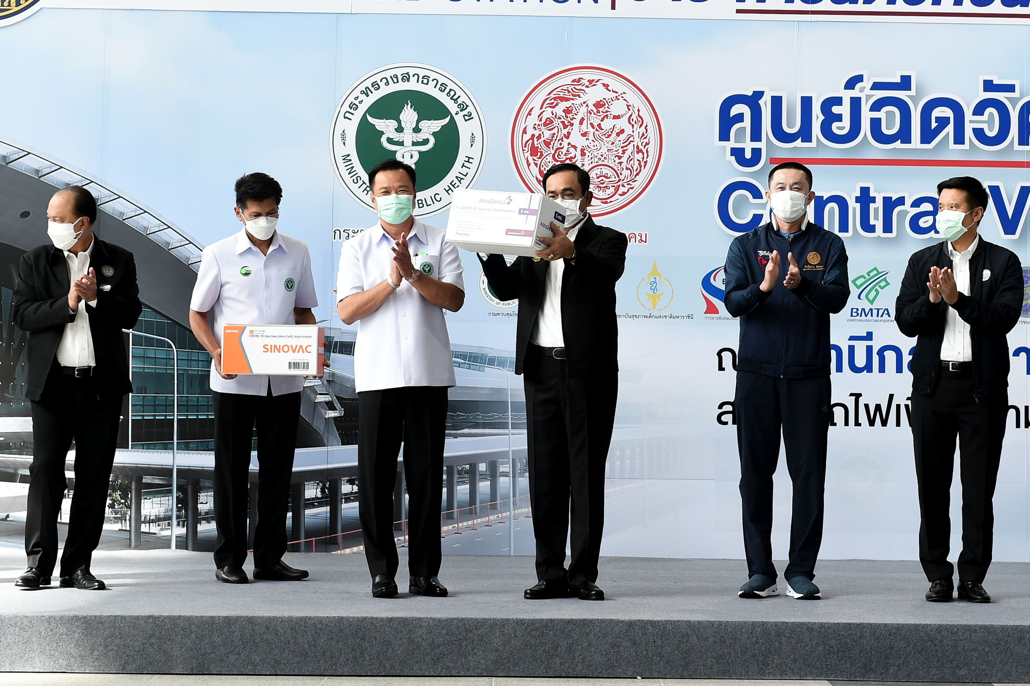 Thailand's Prime Minister Prayuth Chan-ocha holds a box containing AstraZeneca's COVID-19 vaccines as the country starts a mass inoculation campaign against the coronavirus disease (COVID-19), in Bangkok, Thailand, June 7, 2021. Thailand Government House/Handout via REUTERS /File Photo