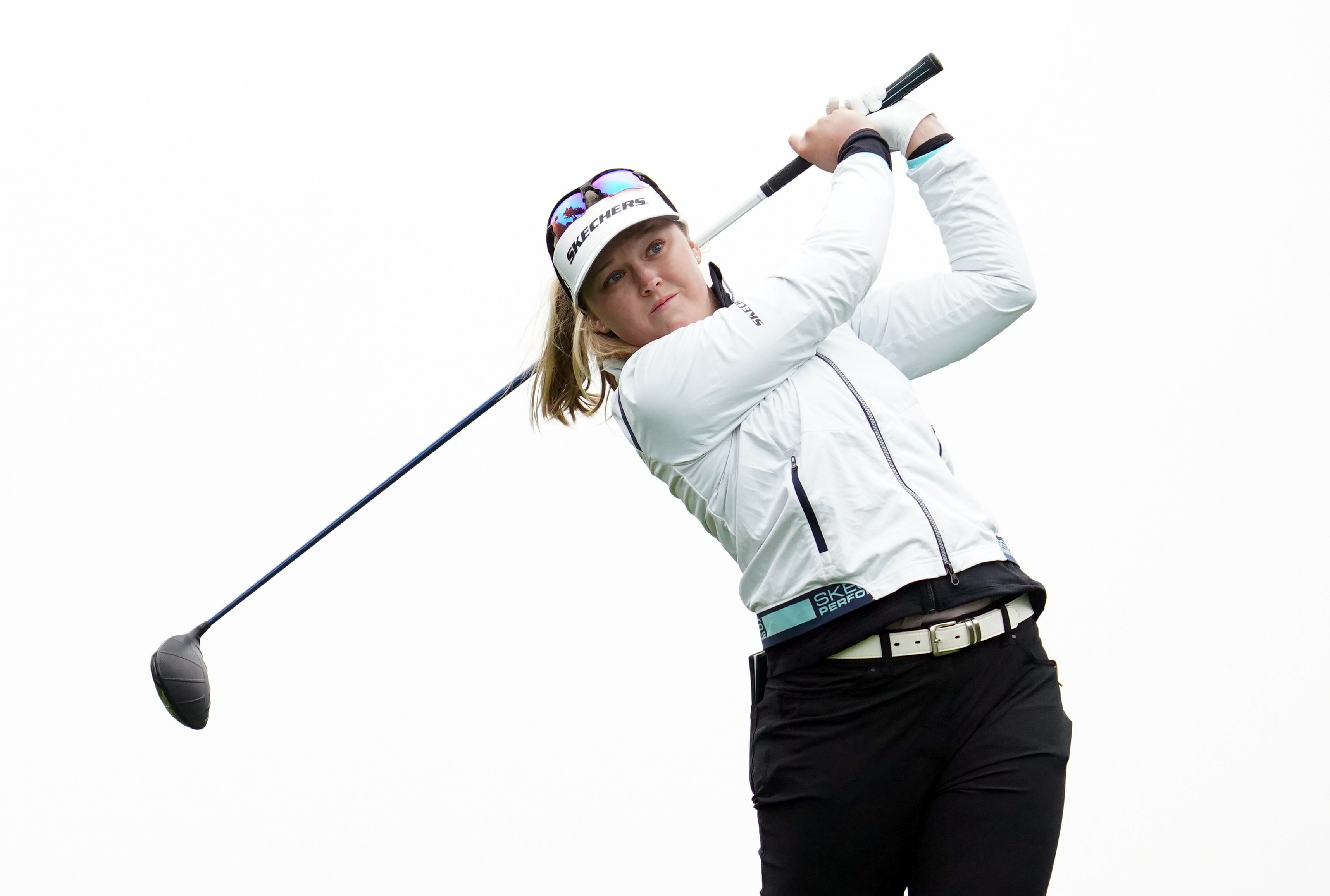 Jun 4, 2021; San Francisco, California, USA; Brooke Henderson plays her shot from the 11th tee during the second round of the U.S. Women's Open golf tournament at The Olympic Club. Mandatory Credit: Kyle Terada-USA TODAY Sports