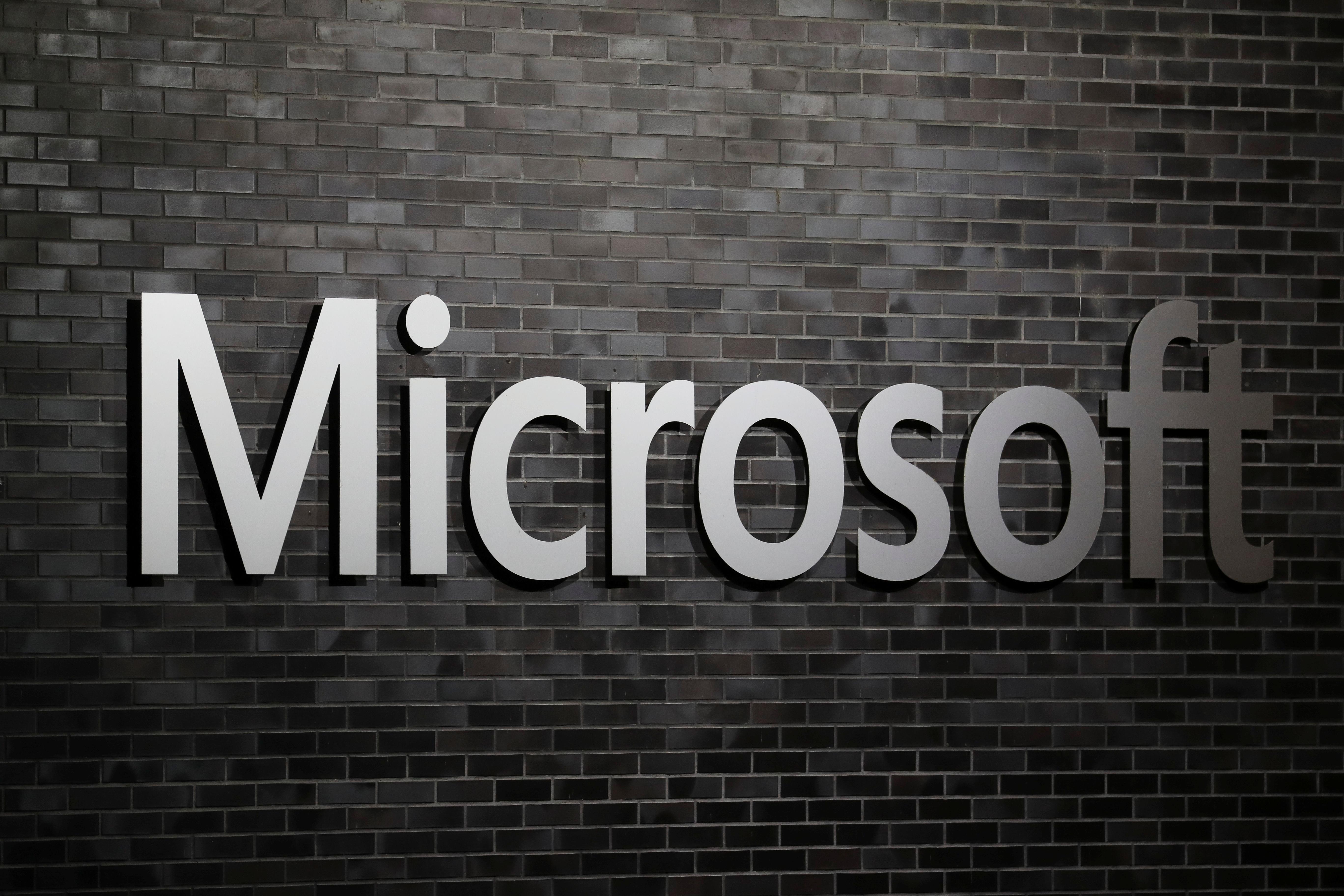 The logo of Microsoft is seen at an office building in Wallisellen, Switzerland December 21, 2020.  REUTERS/Arnd Wiegmann