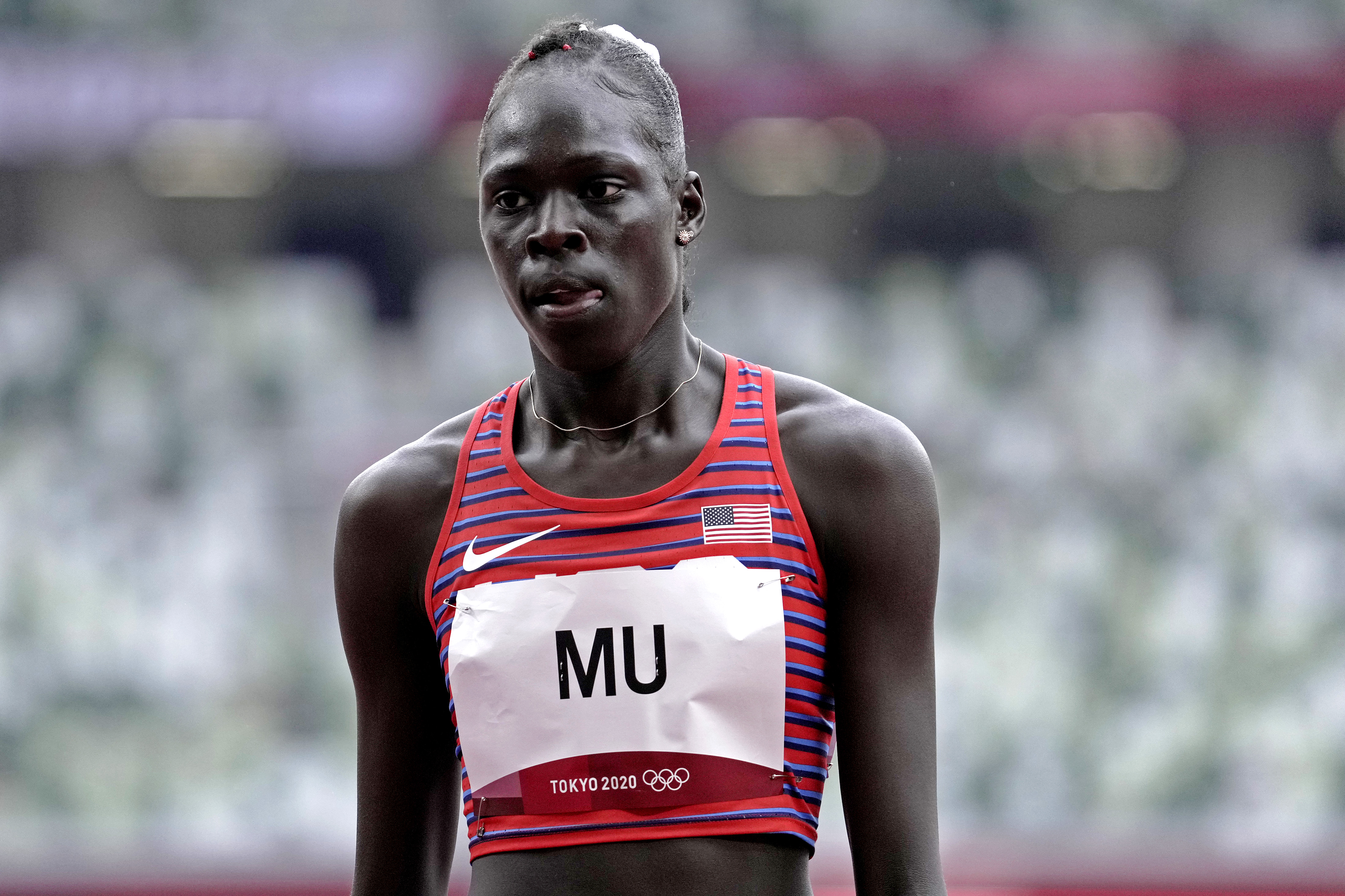 Jul 30, 2021; Tokyo, Japan; Athing Mu (USA) competes in the women's 800m heat 3 during the Tokyo 2020 Olympic Summer Games at Olympic Stadium. Mandatory Credit: James Lang-USA TODAY Sports