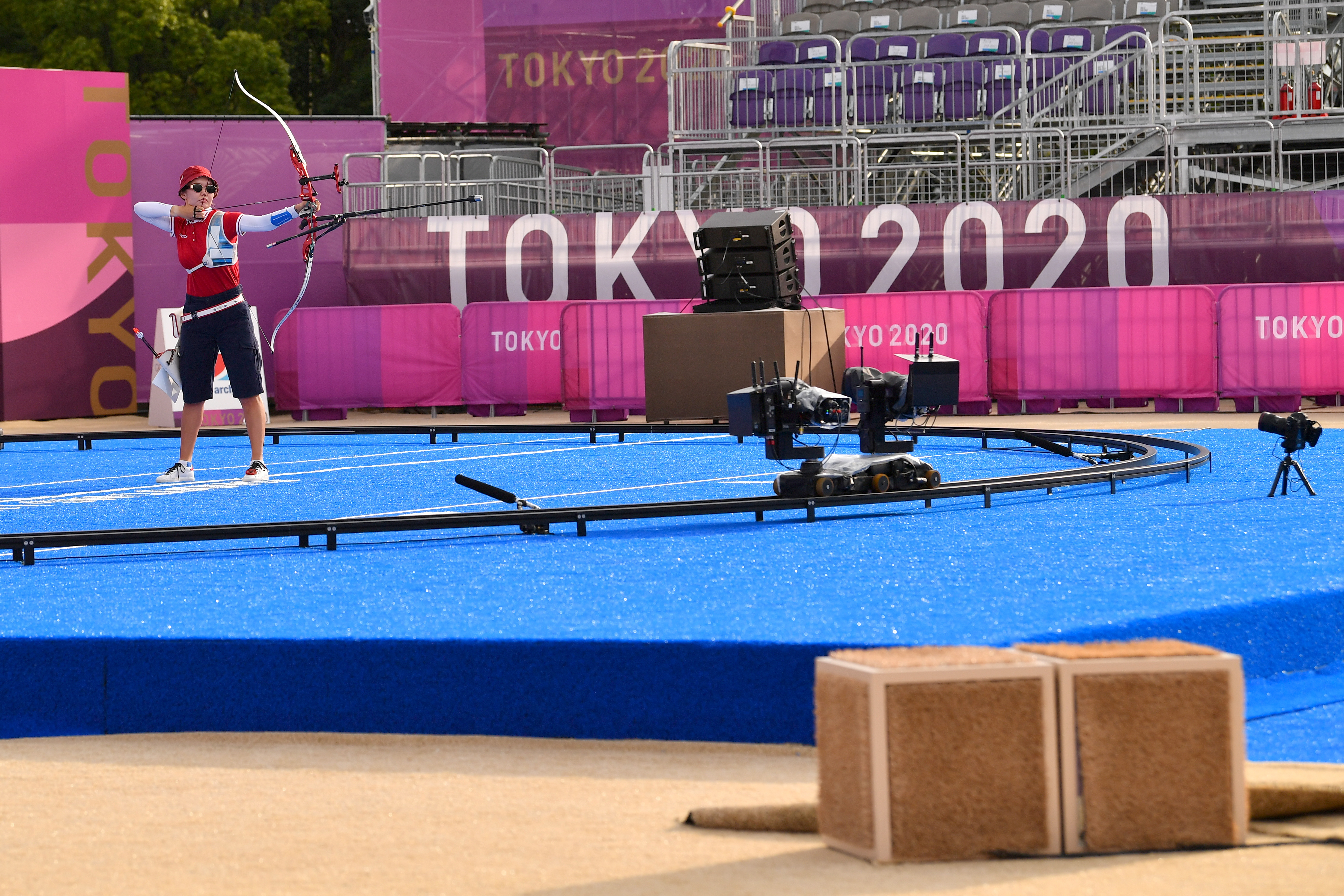 Cameras positioned 12 metres before the archery shooting line that live track the heart beats per minute of over 100 consenting archers are seen at the Yumenoshima Archery Field, during the Tokyo 2020 Olympic Games, Japan, July 29, 2021. Picture taken July 29, 2021. REUTERS/Clodagh Kilcoyne