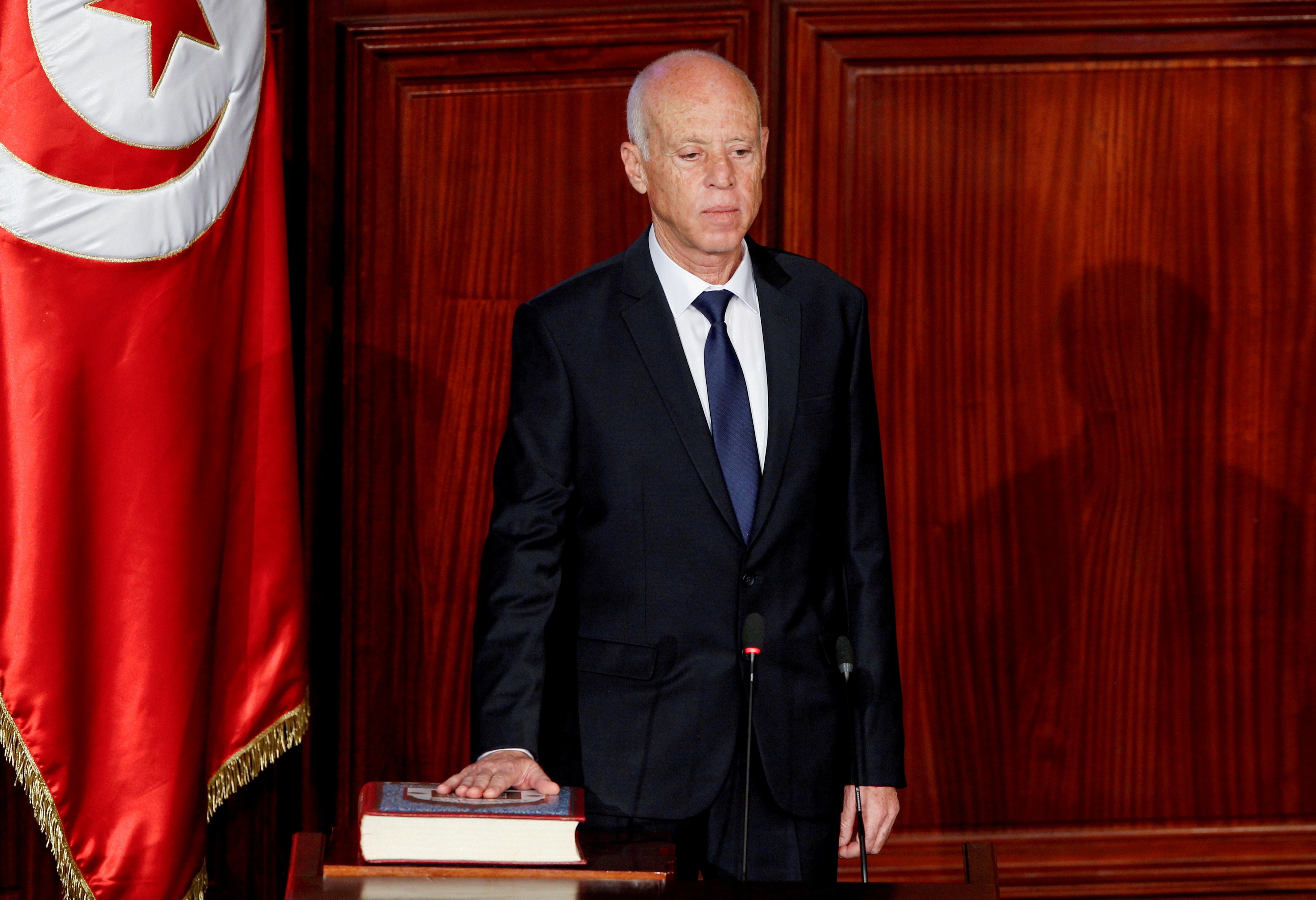 Tunisian President Kais Saied takes the oath of office in Tunis, Tunisia, October 23, 2019. REUTERS/Zoubeir Souiss/File Photo