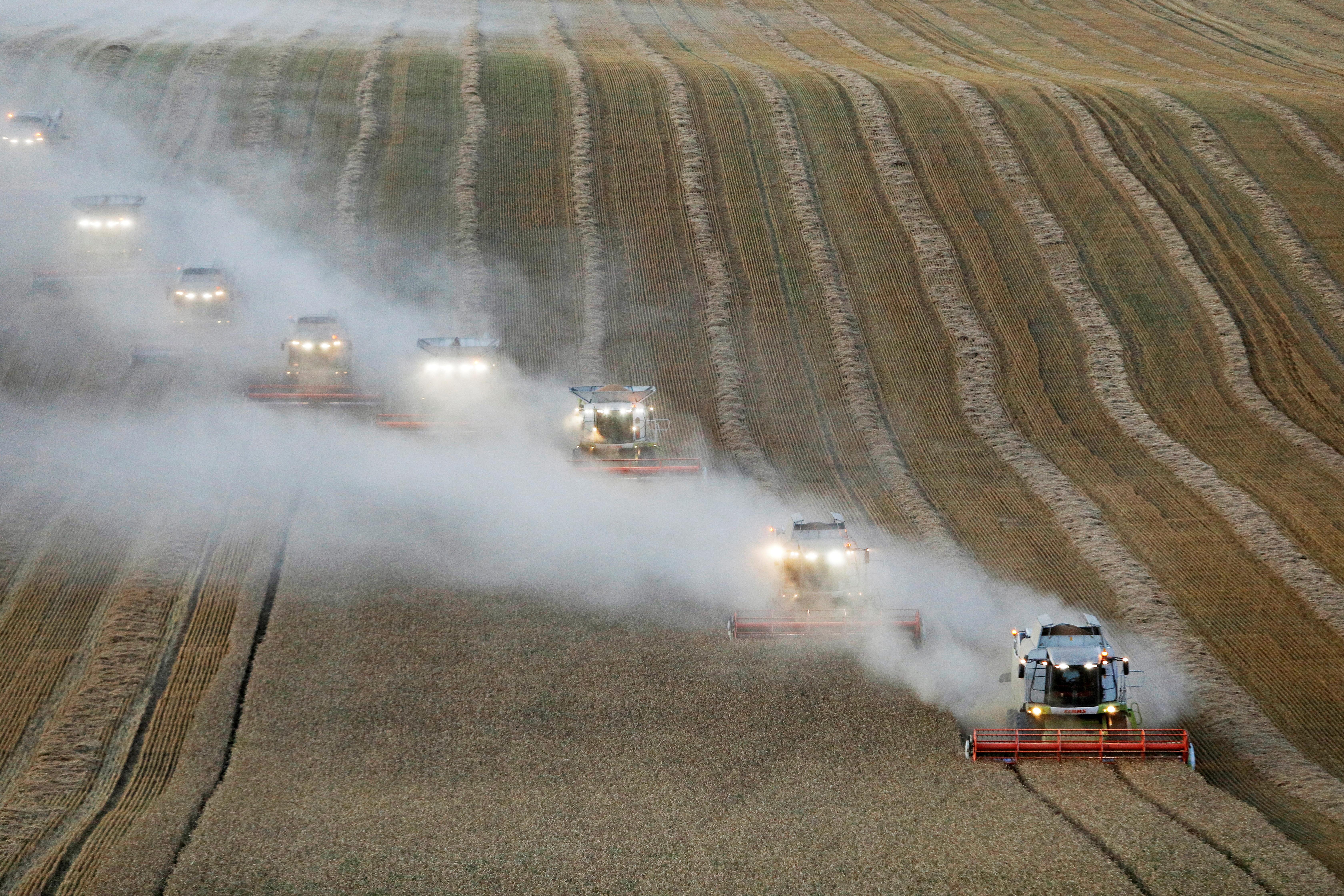 Combines harvest wheat in a field near the village of Suvorovskaya in Stavropol Region, Russia July 17, 2021. REUTERS/Eduard Korniyenko