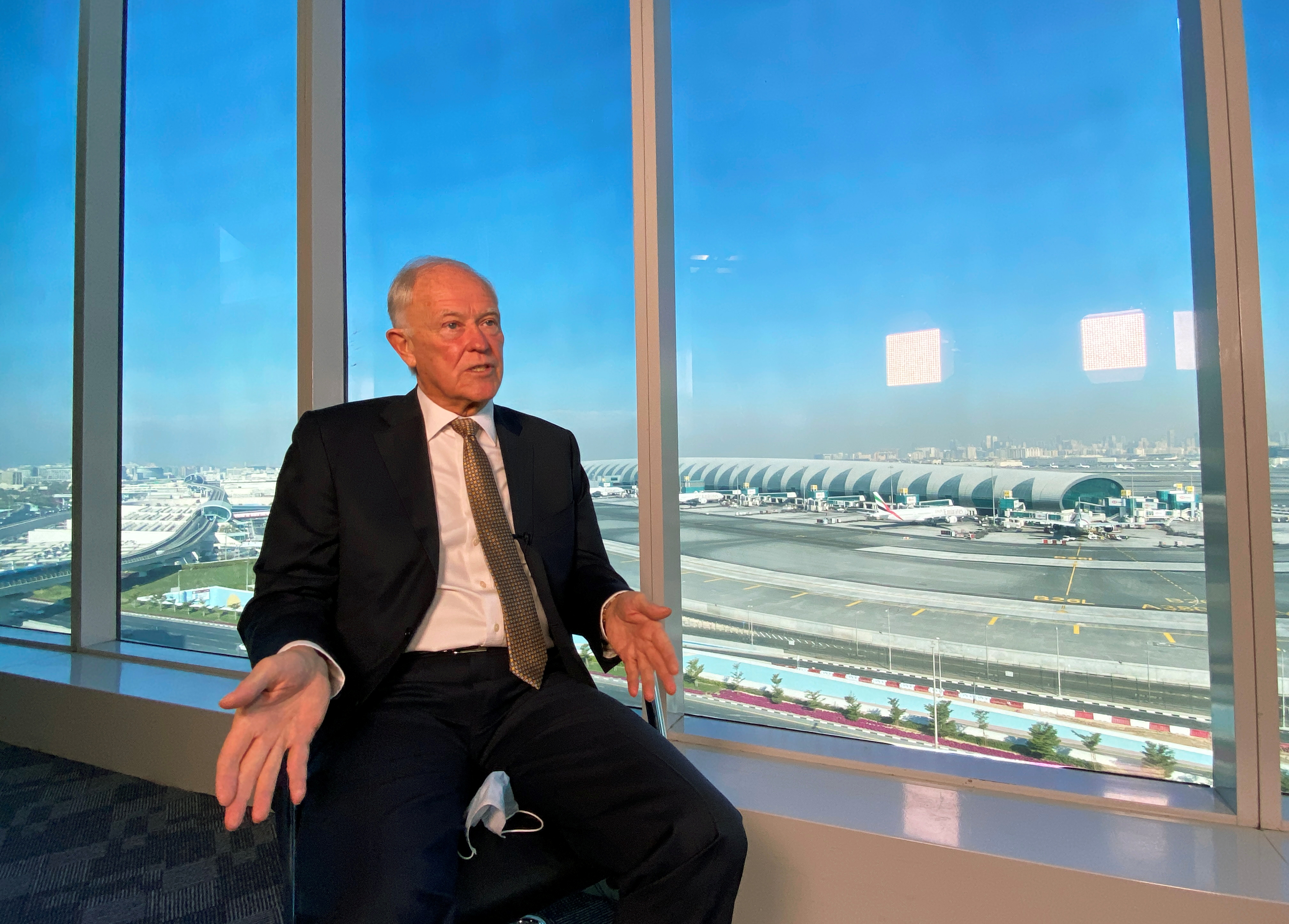 Emirates Airline President Tim Clark gestures as he speaks during an interview with Reuters in Dubai, United Arab Emirates, January 13, 2021. REUTERS/Abdel Hadi Ramahi