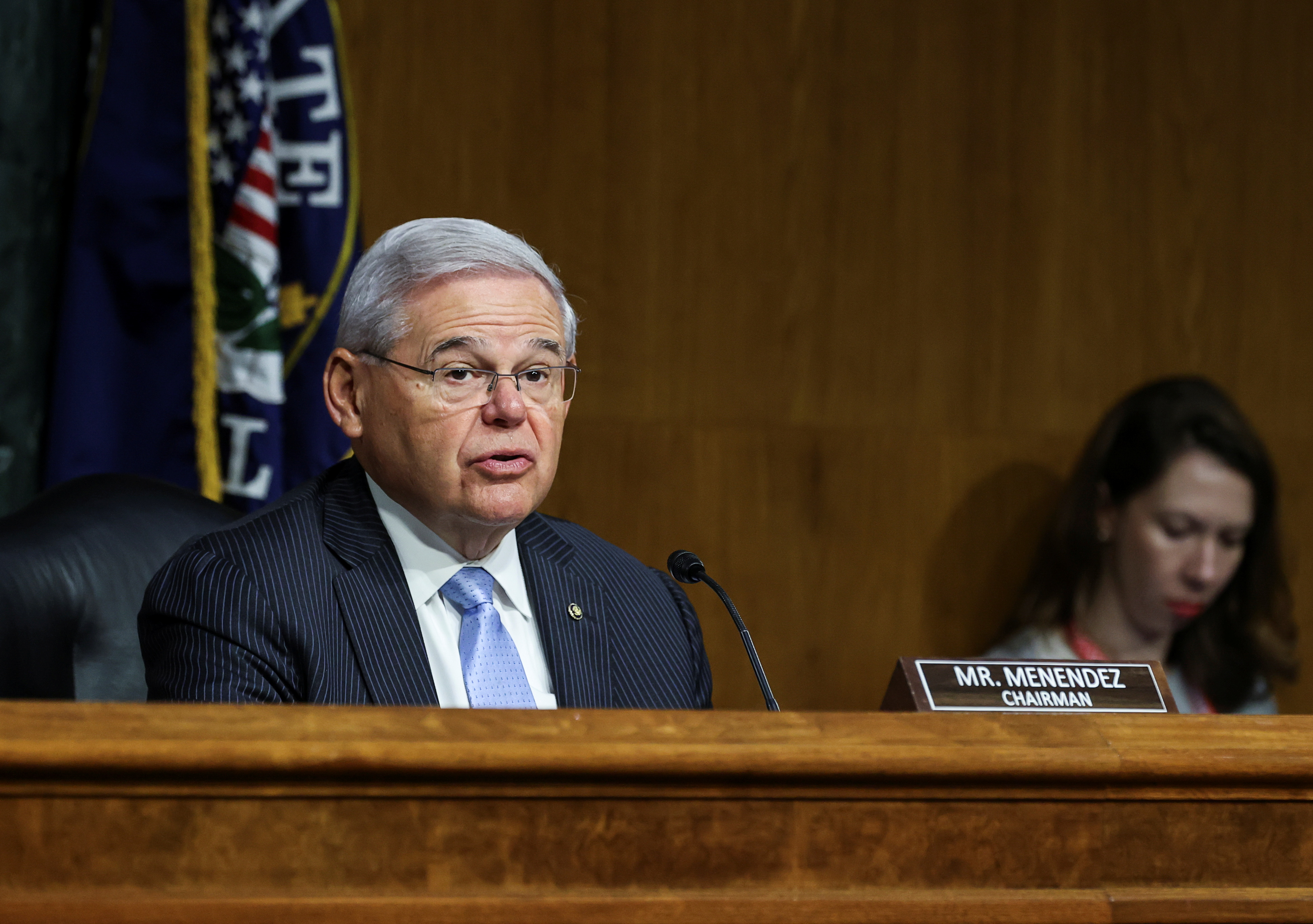 Senate Foreign Relations Committee Charirman Bob Menendez (D-NJ) presides at a Senate Foreign Relations Committee hearing on