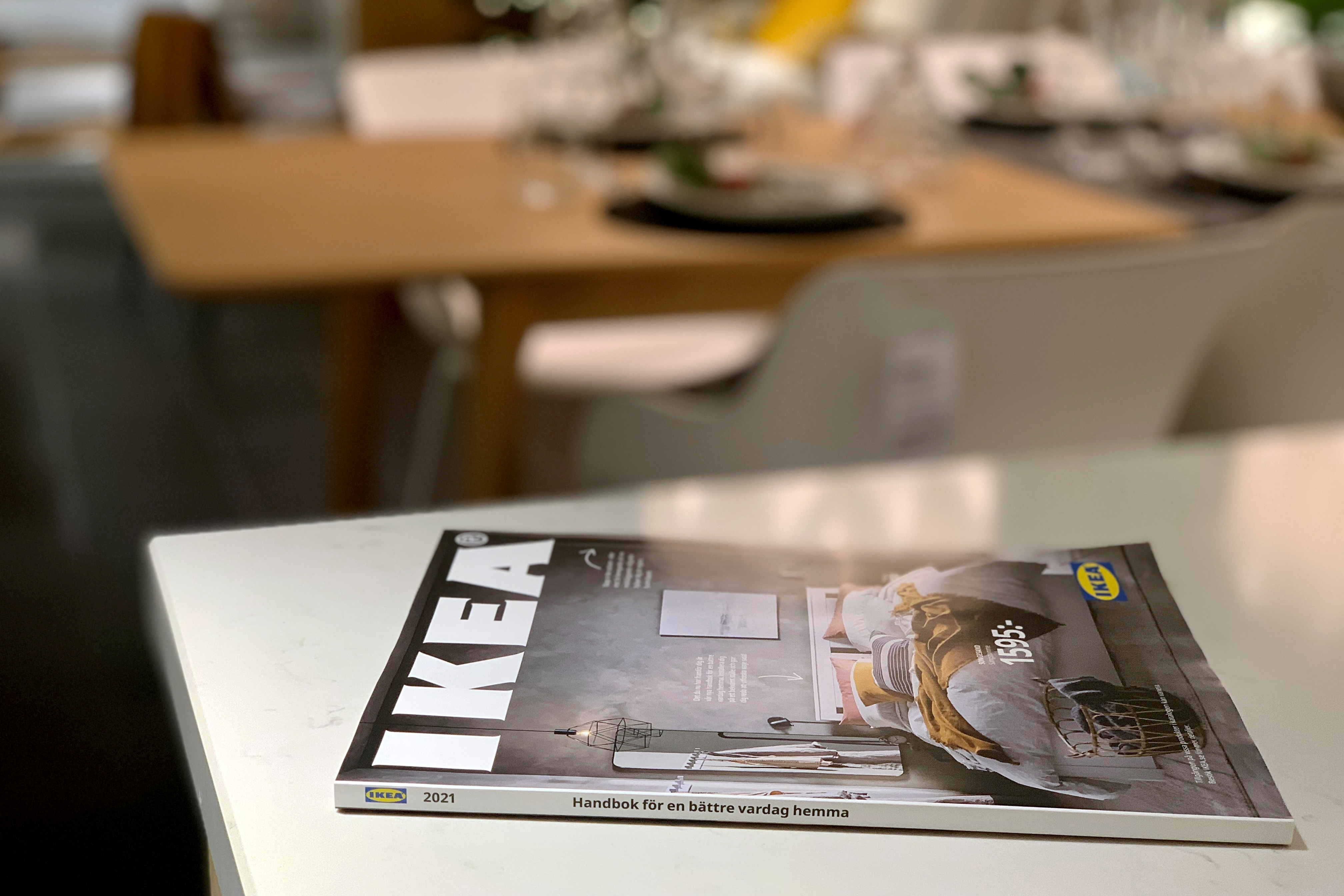 The 2021 catalogue is seen on a showroom kitchen counter at an IKEA store on the outskirts of Stockholm, Sweden December 5, 2020.   REUTERS/Anna Ringstrom