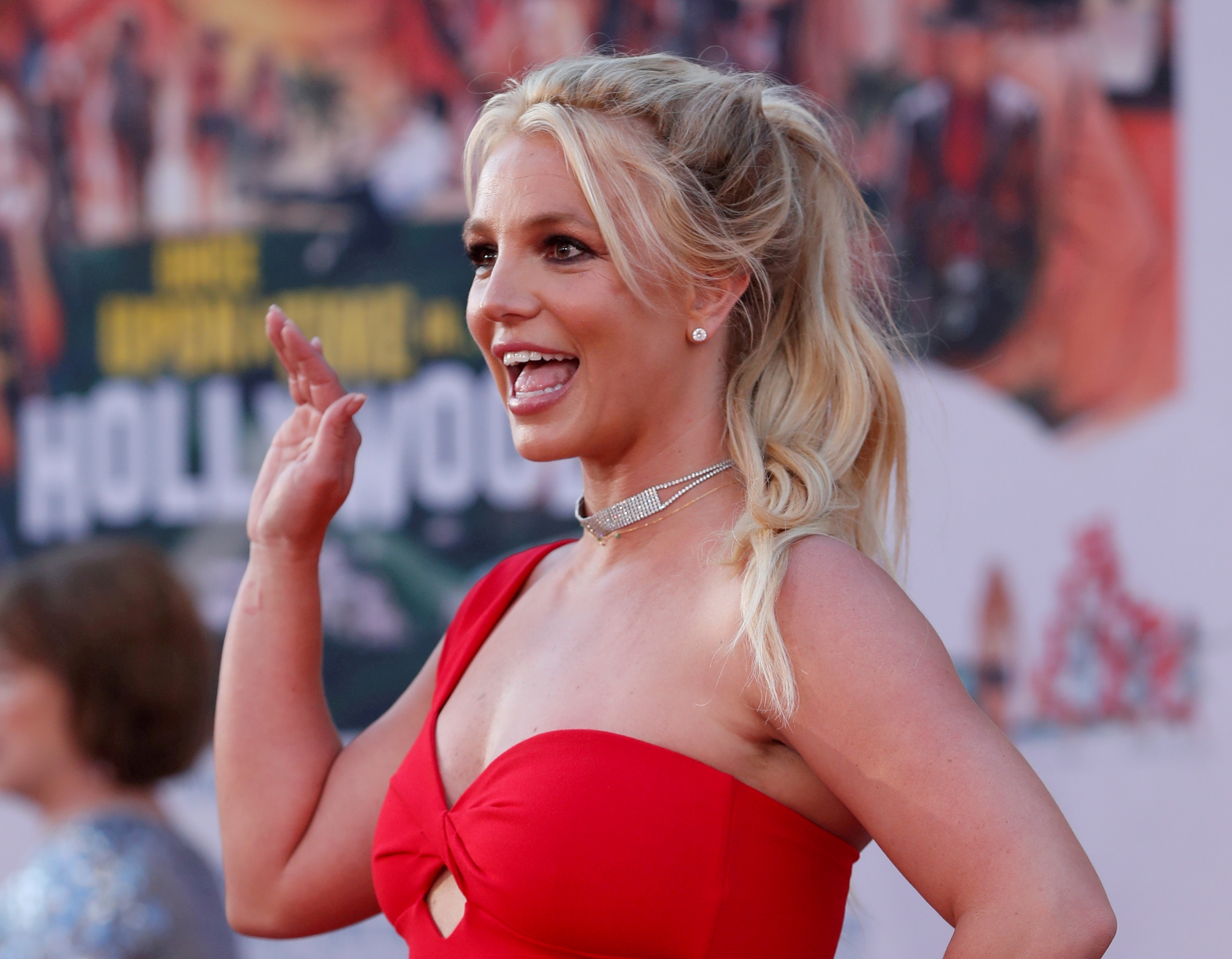 Britney Spears poses at the premiere of