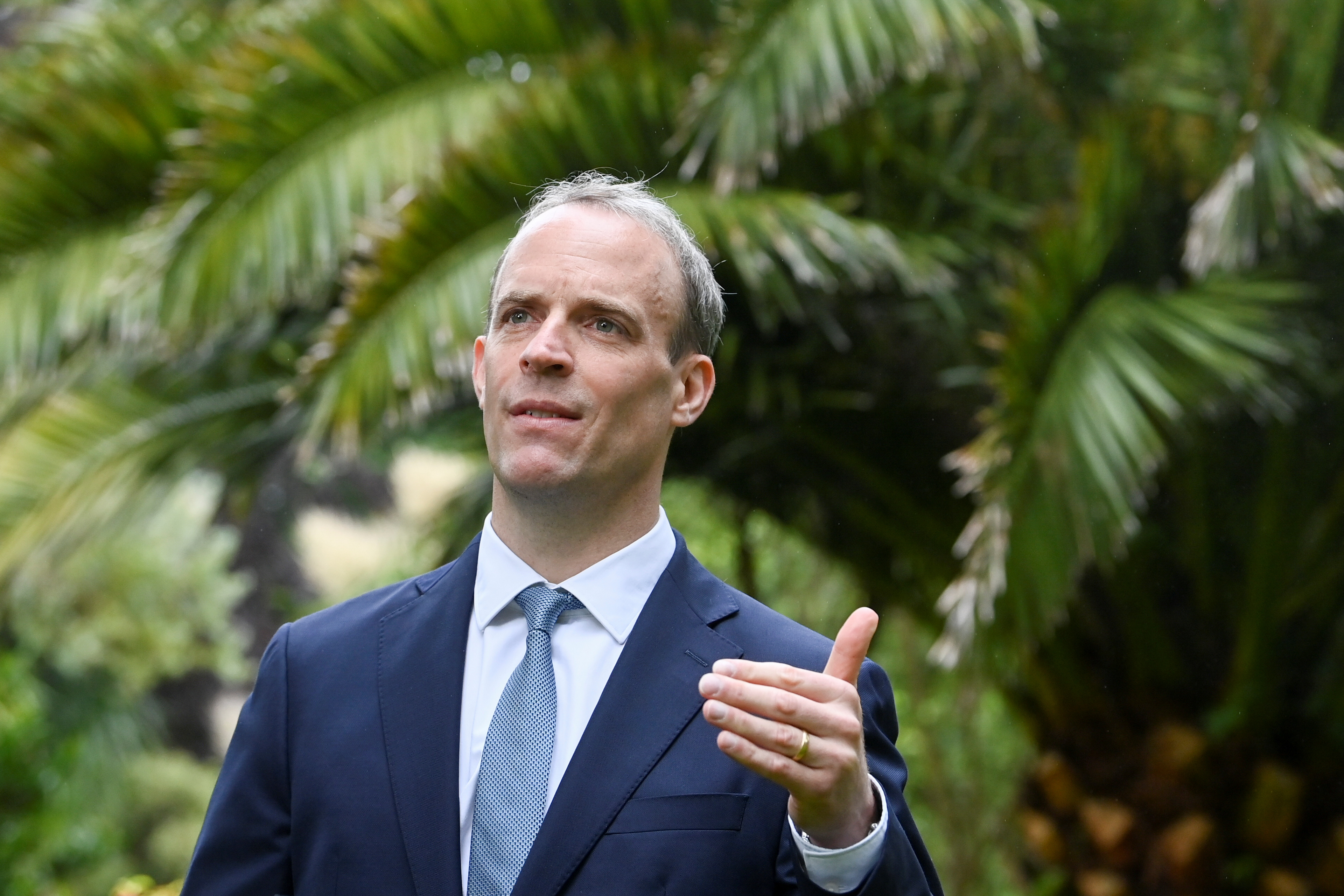 Britain's Foreign Secretary Dominic Raab gestures during an interview with Reuters on the sidelines of G7 summit in Carbis Bay, Cornwall, Britain, June 11, 2021. REUTERS/Toby Melville