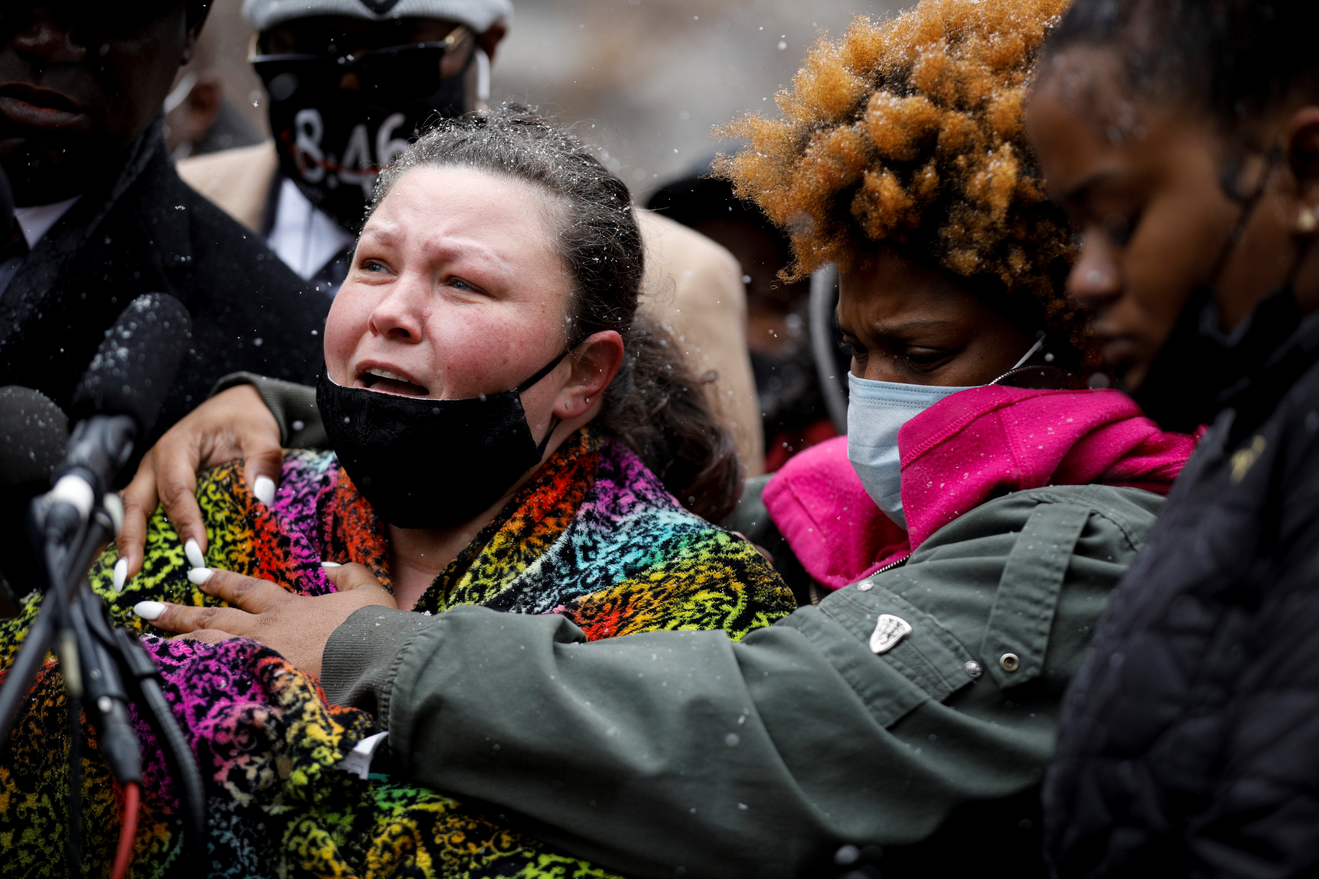 Katie Wright, Daunte Wright's mother, addresses the media during a press conference outside the Hennepin County Government Center after an officer-involved killing of Daunte Wright, 20, following a traffic stop in Minneapolis, Minnesota, U.S., April 13, 2021. REUTERS/Nicholas Pfosi