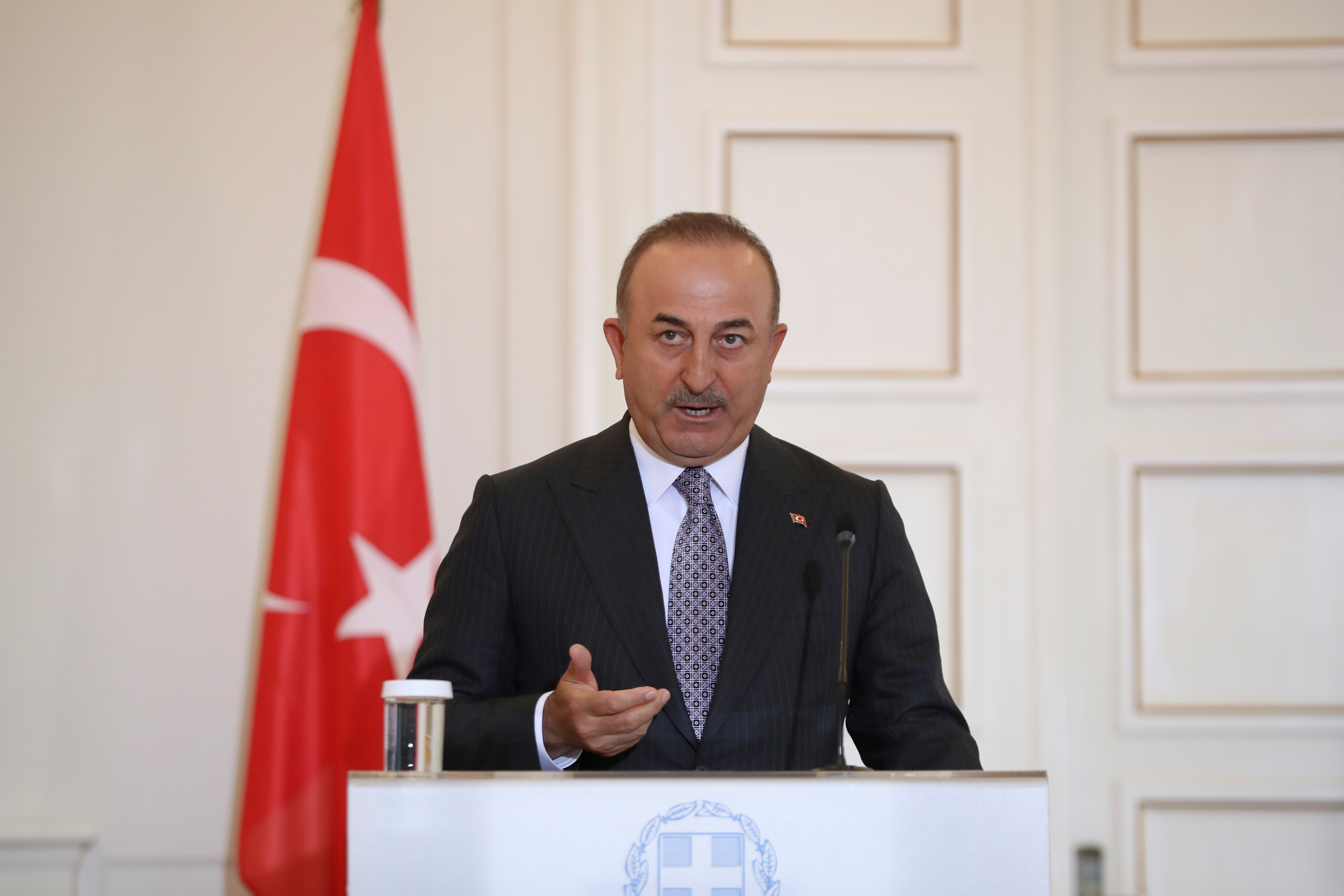 Turkish Foreign Minister Mevlut Cavusoglu speaks during a joint news conference with his Greek counterpart Nikos Dendias at the Ministry of Foreign Affairs in Athens, Greece, May 31, 2021. REUTERS/Costas Baltas