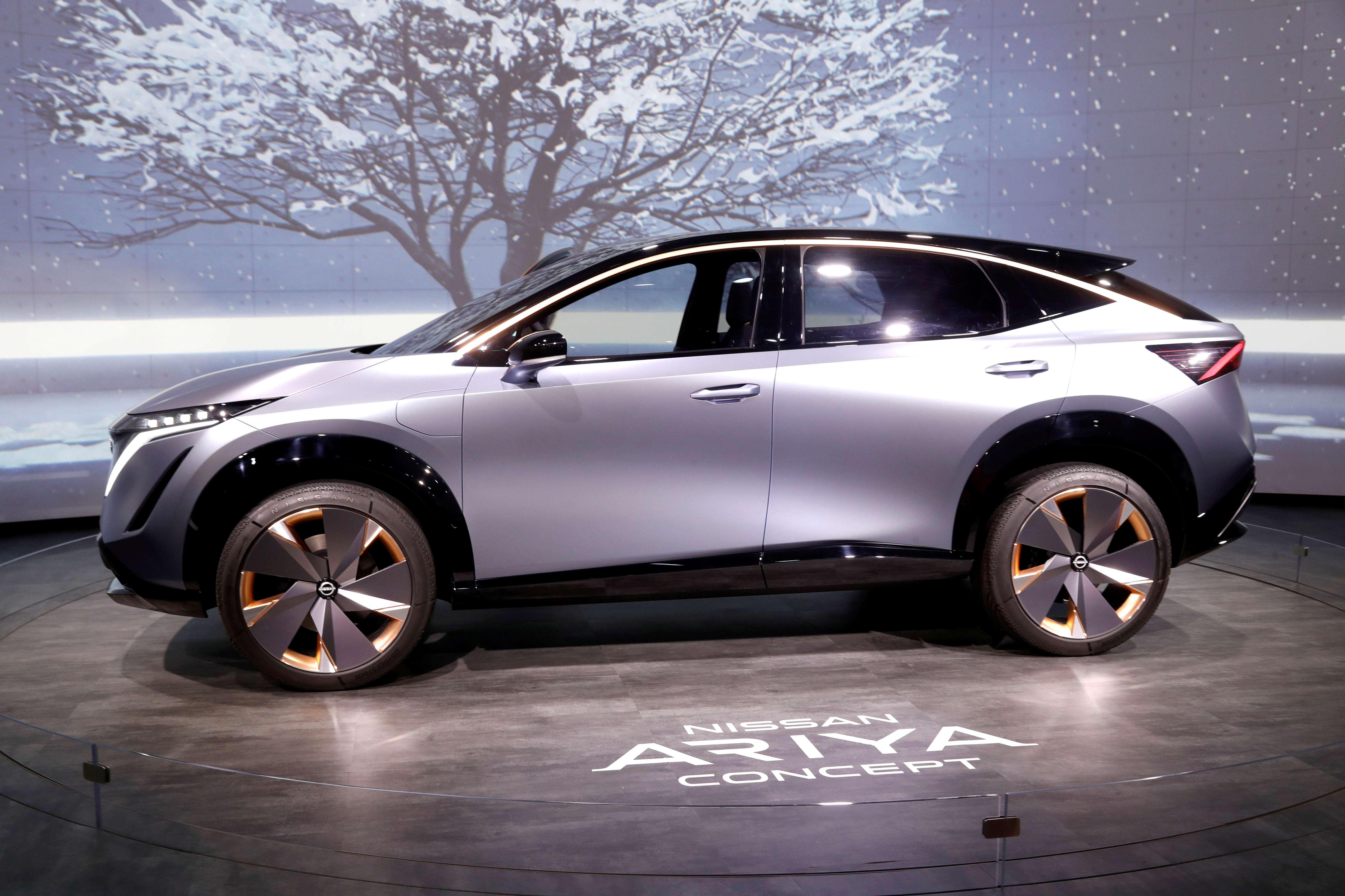 The Nissan Ariya concept car, an electric crossover SUV, is displayed during the 2020 CES in Las Vegas, Nevada, U.S. January 7, 2020. REUTERS/Steve Marcus/File Photo