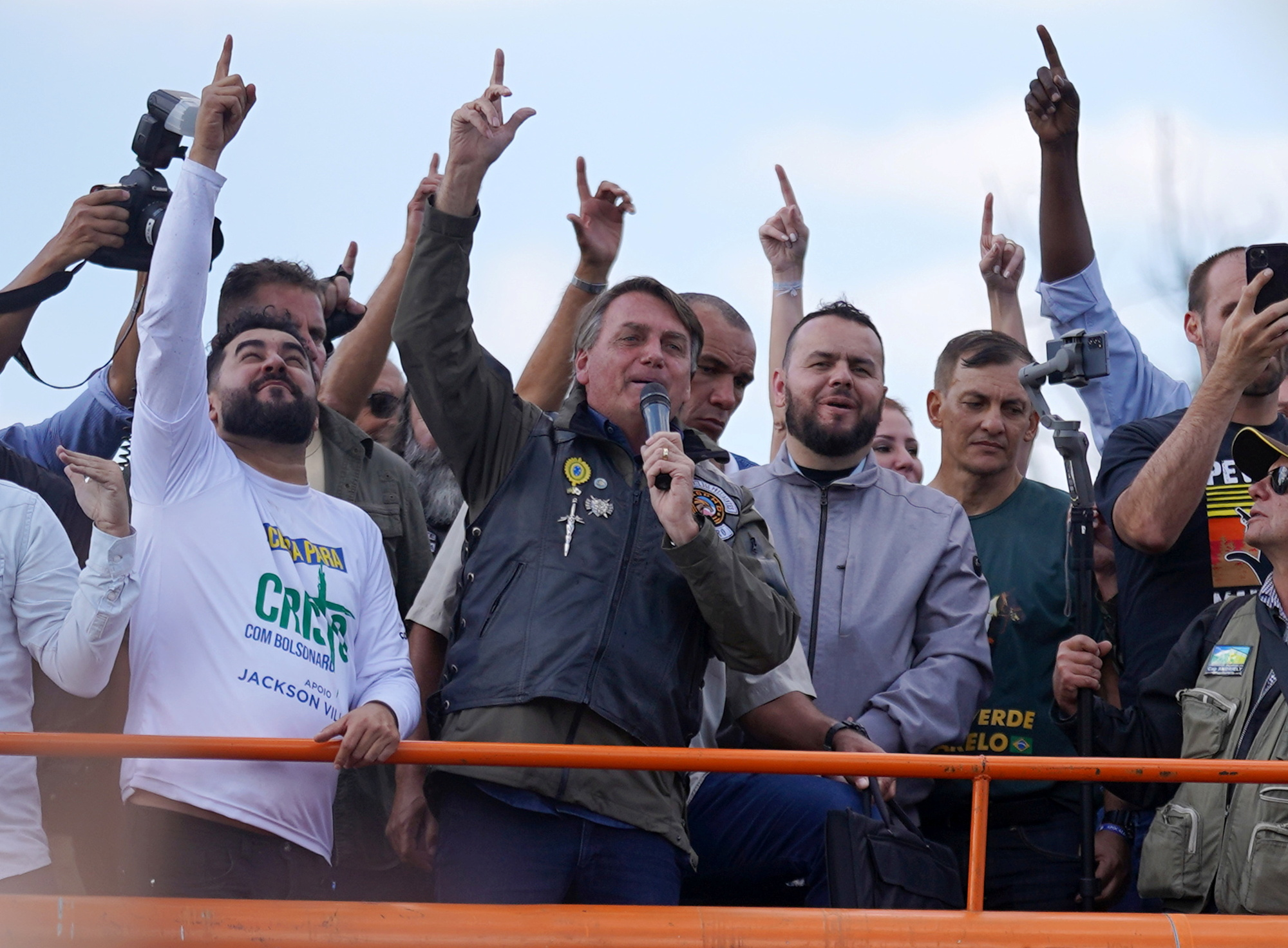 Brazil's President Jair Bolsonaro reacts after participating in a motorcade rally amid the coronavirus disease (COVID-19) pandemic, in Sao Paulo, Brazil June 12, 2021. REUTERS/Avener Prado